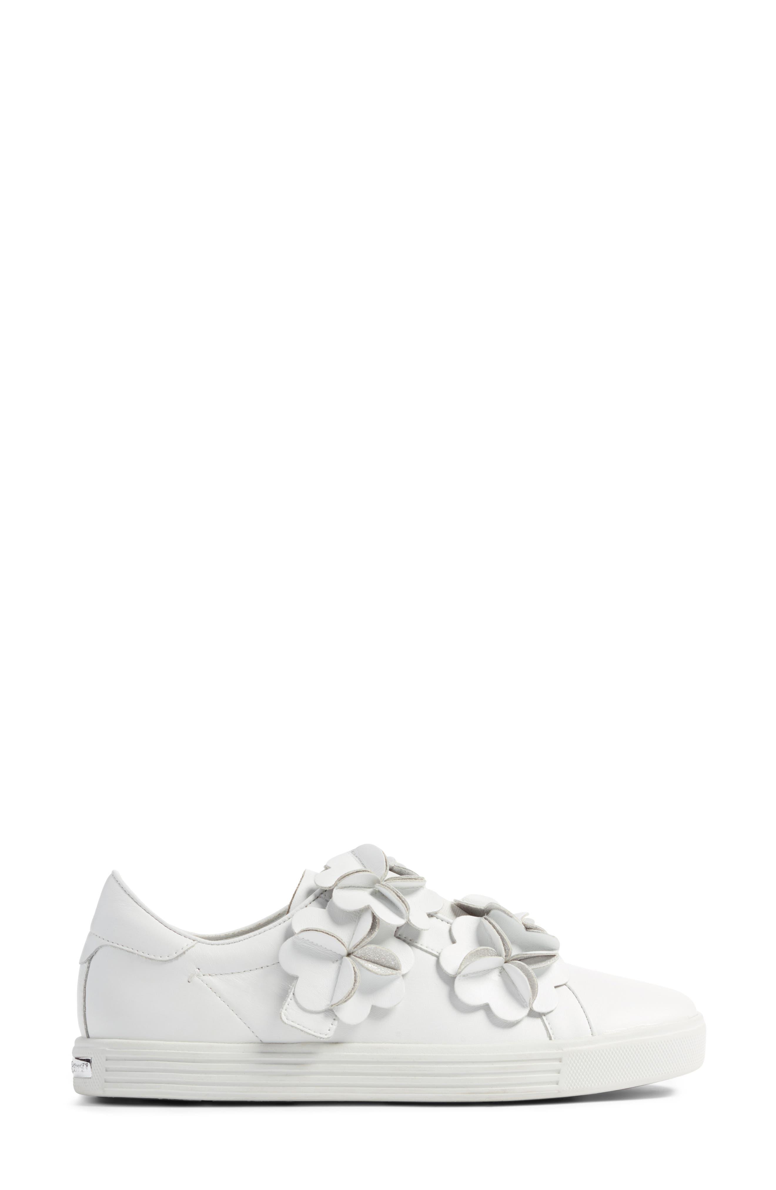 Kennel & Schmenger Town Floral Embellished Sneaker,                             Alternate thumbnail 3, color,                             White/ Silver