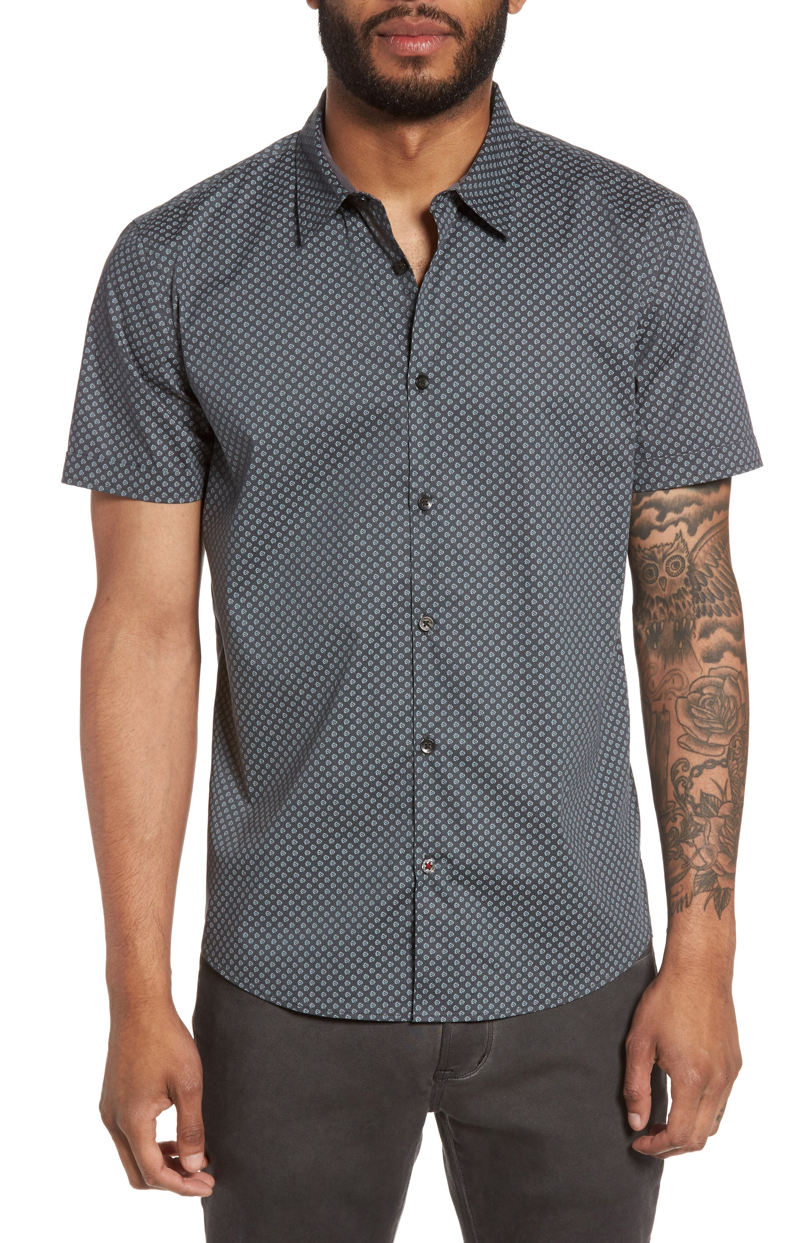 Trim Fit Print Sport Shirt,                         Main,                         color, Dark Grey