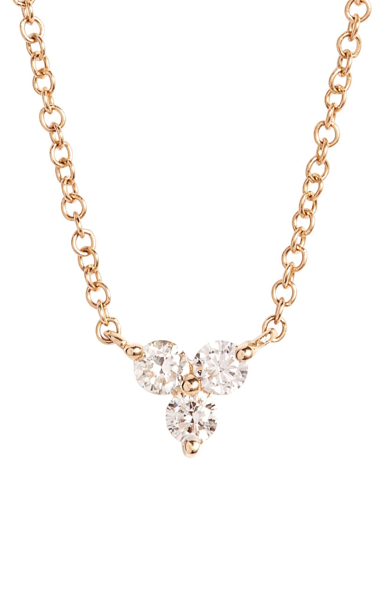 EF COLLECTION Trio Diamond Pendant Necklace