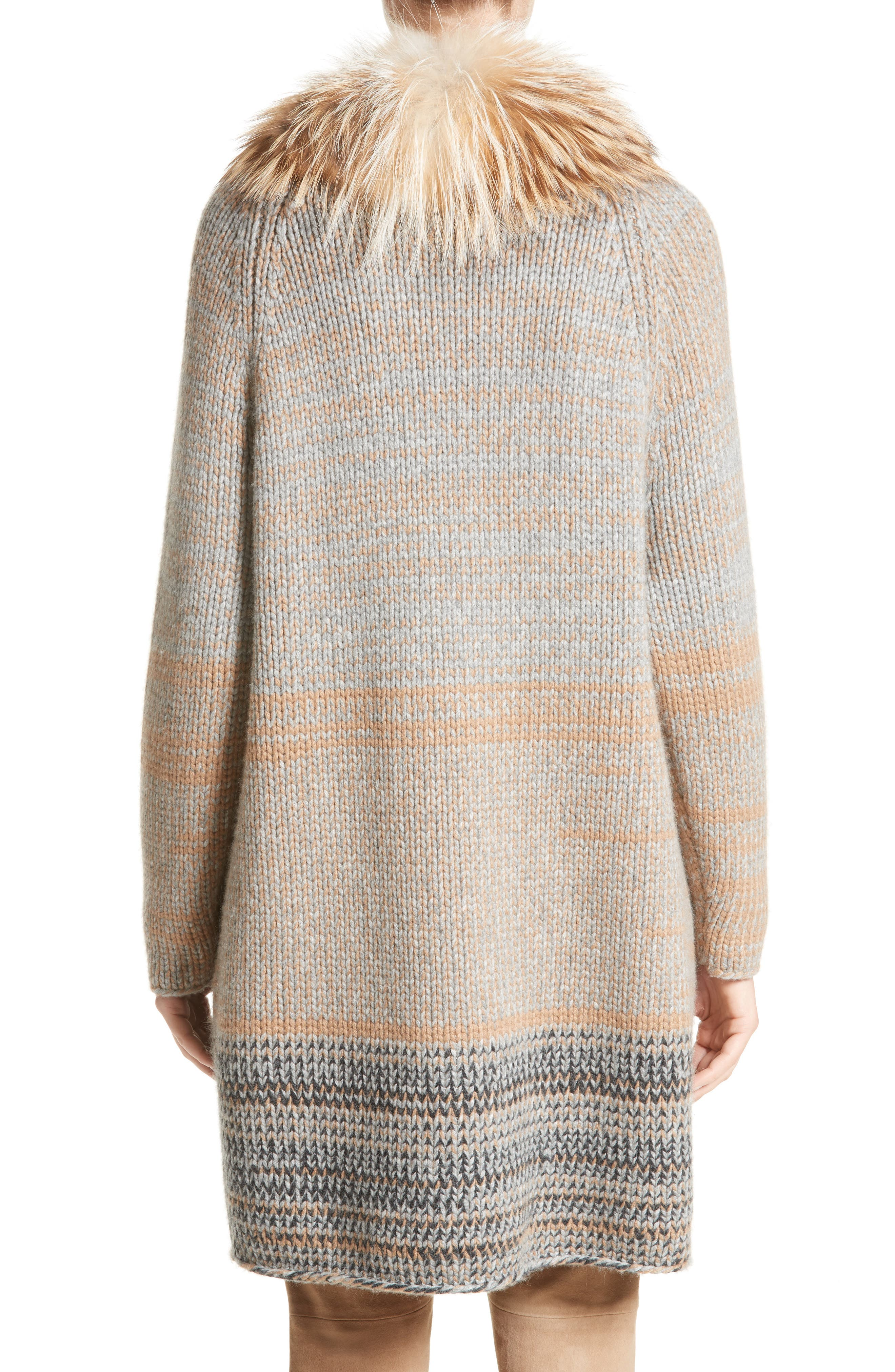 Cashmere Cardigan with Removable Genuine Fox Fur Collar,                             Alternate thumbnail 3, color,                             Camel / Grey Multi