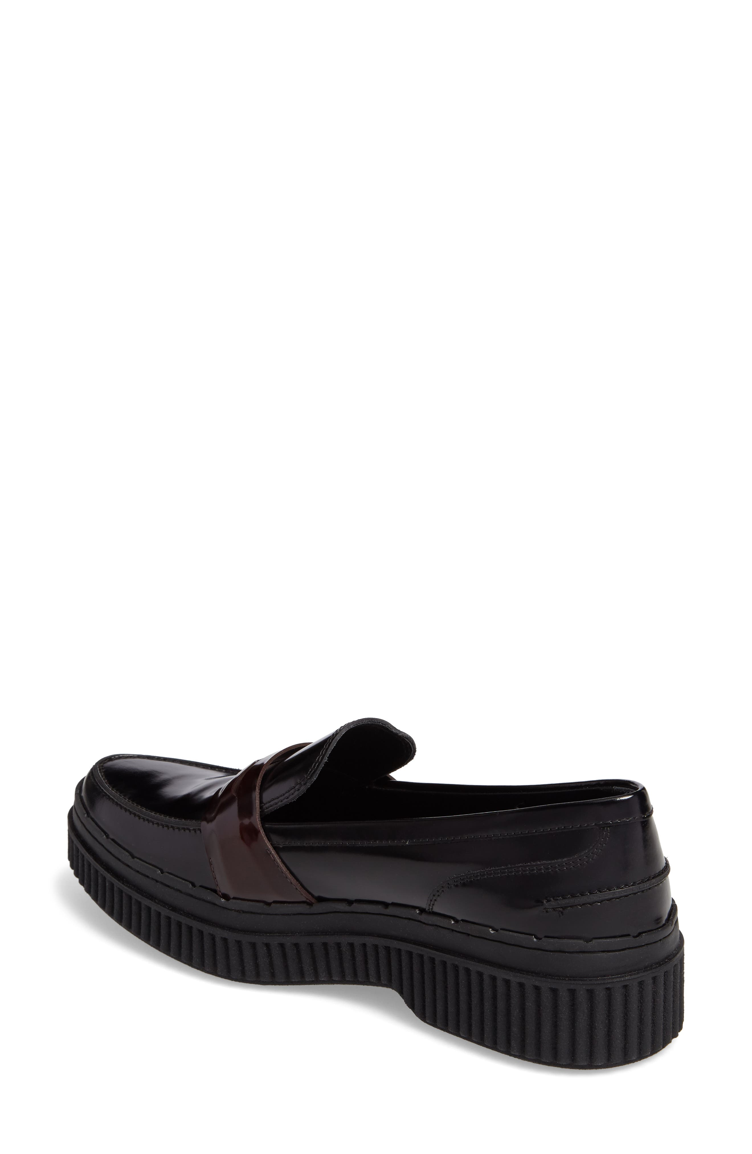 Penny Creeper Loafer,                             Alternate thumbnail 2, color,                             Black/ Oxblood
