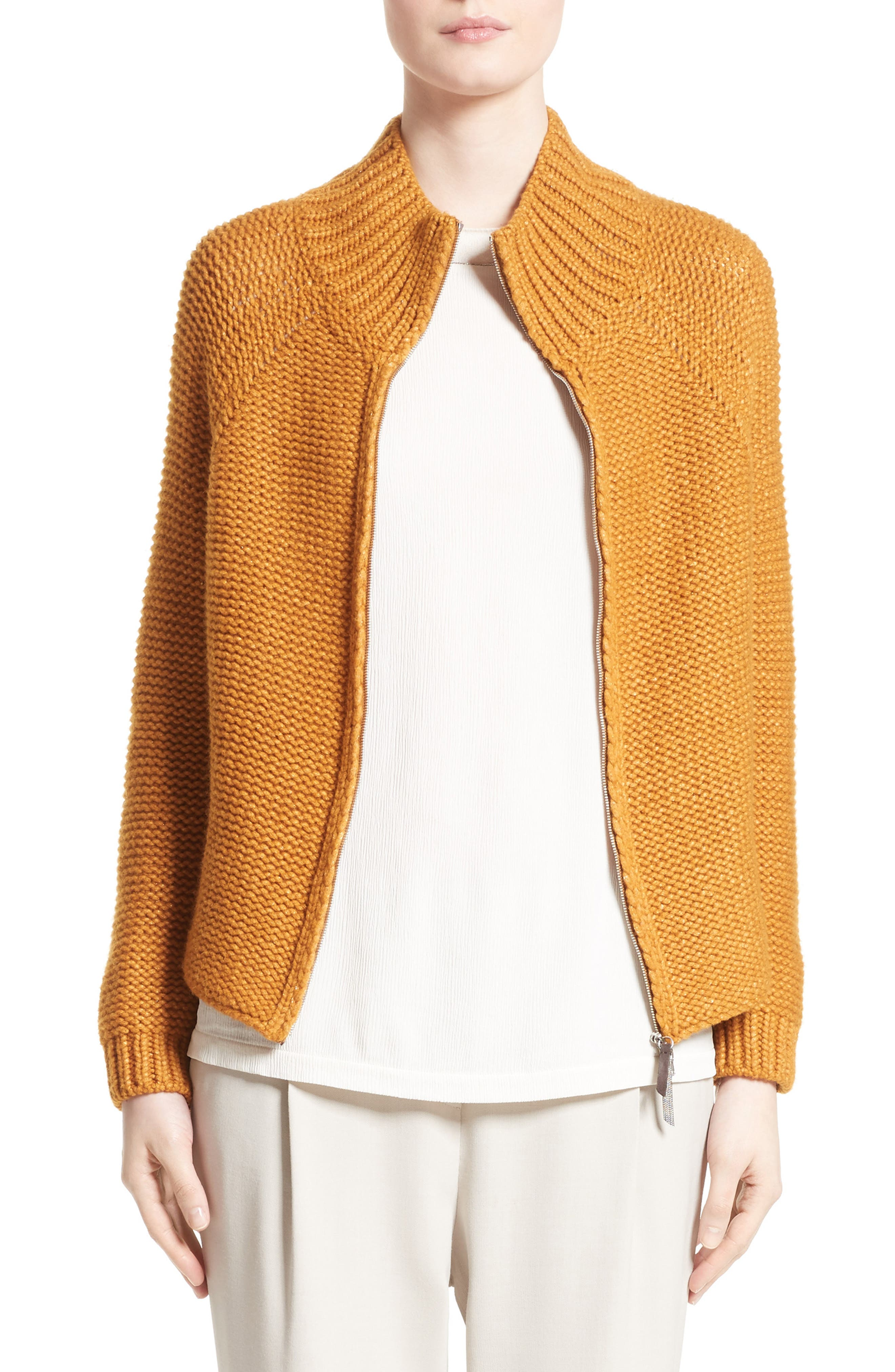 Knit Wool Blend Cardigan,                             Main thumbnail 1, color,                             Amber