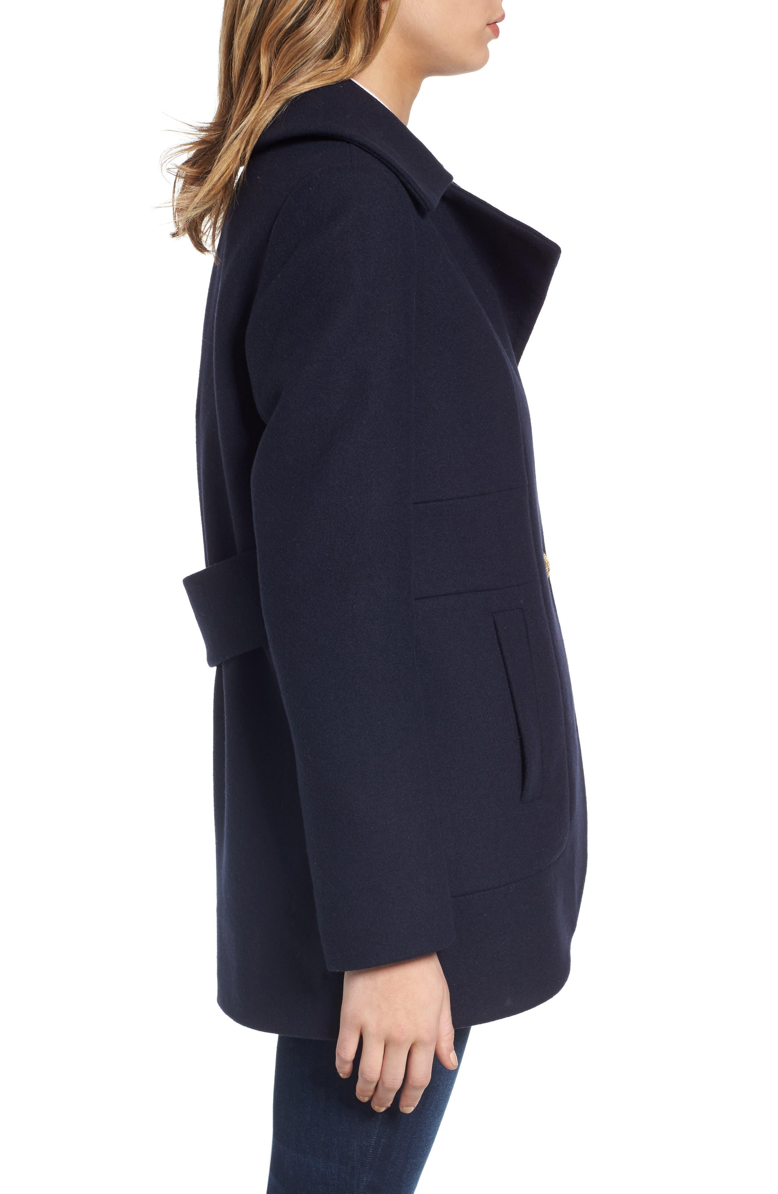 Alternate Image 3  - French Connection Back Belt Wool Blend Peacoat