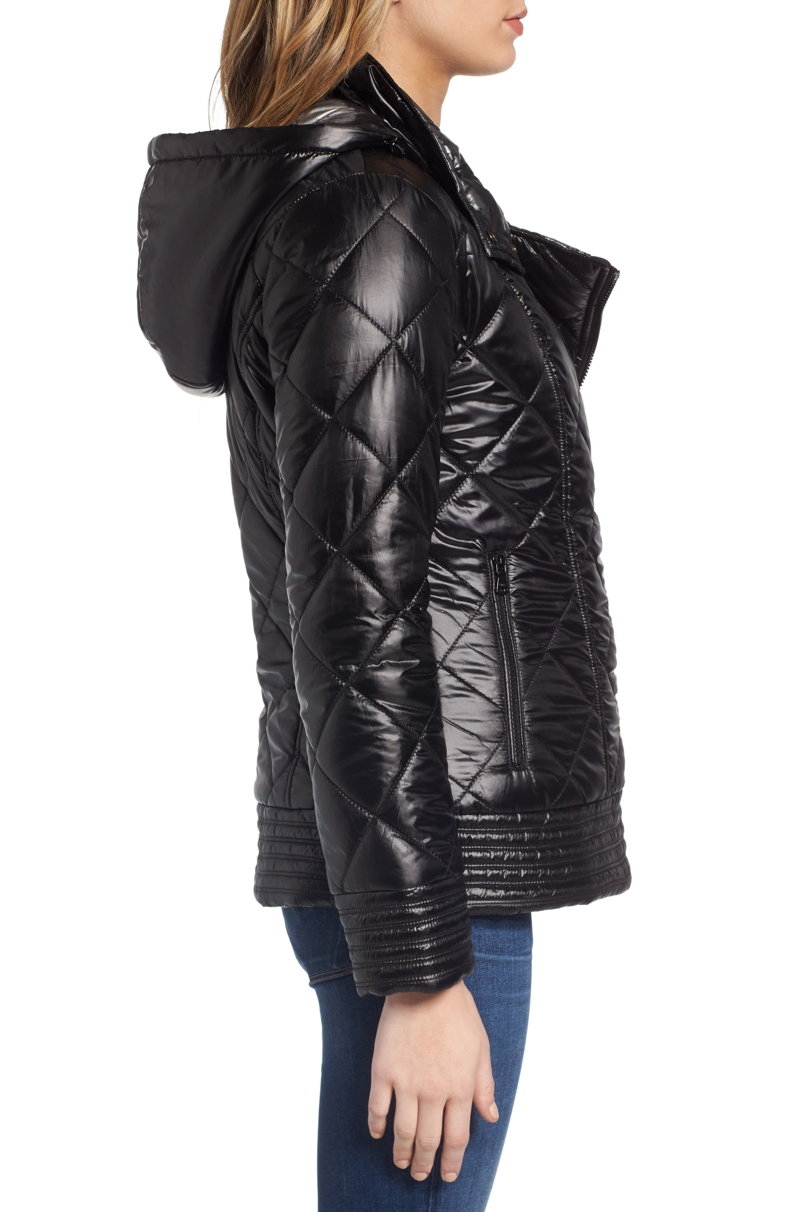 Reversible Packable Asymmetrical Quilted Jacket,                             Alternate thumbnail 3, color,                             Black/ Silver