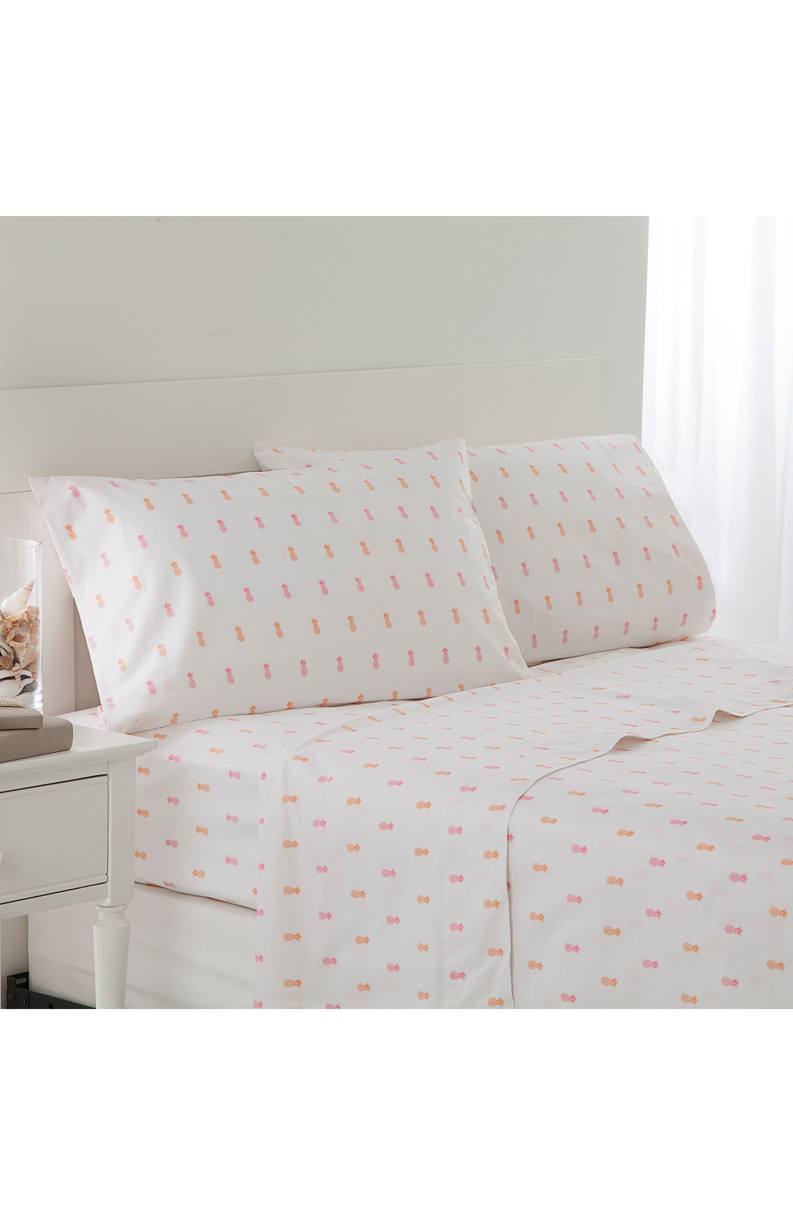 Pineapple Sheet Set,                         Main,                         color, Pink/ Orange