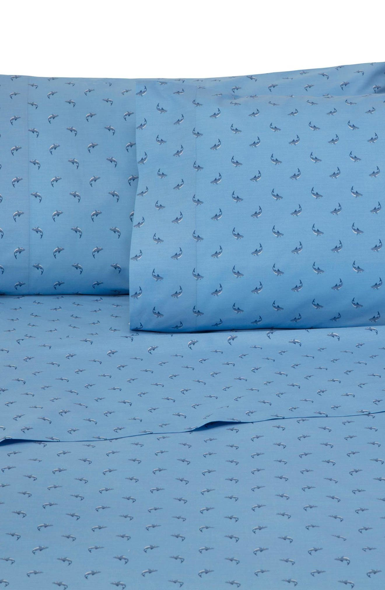 Shark Attack Sheet Set,                             Main thumbnail 1, color,                             Blue
