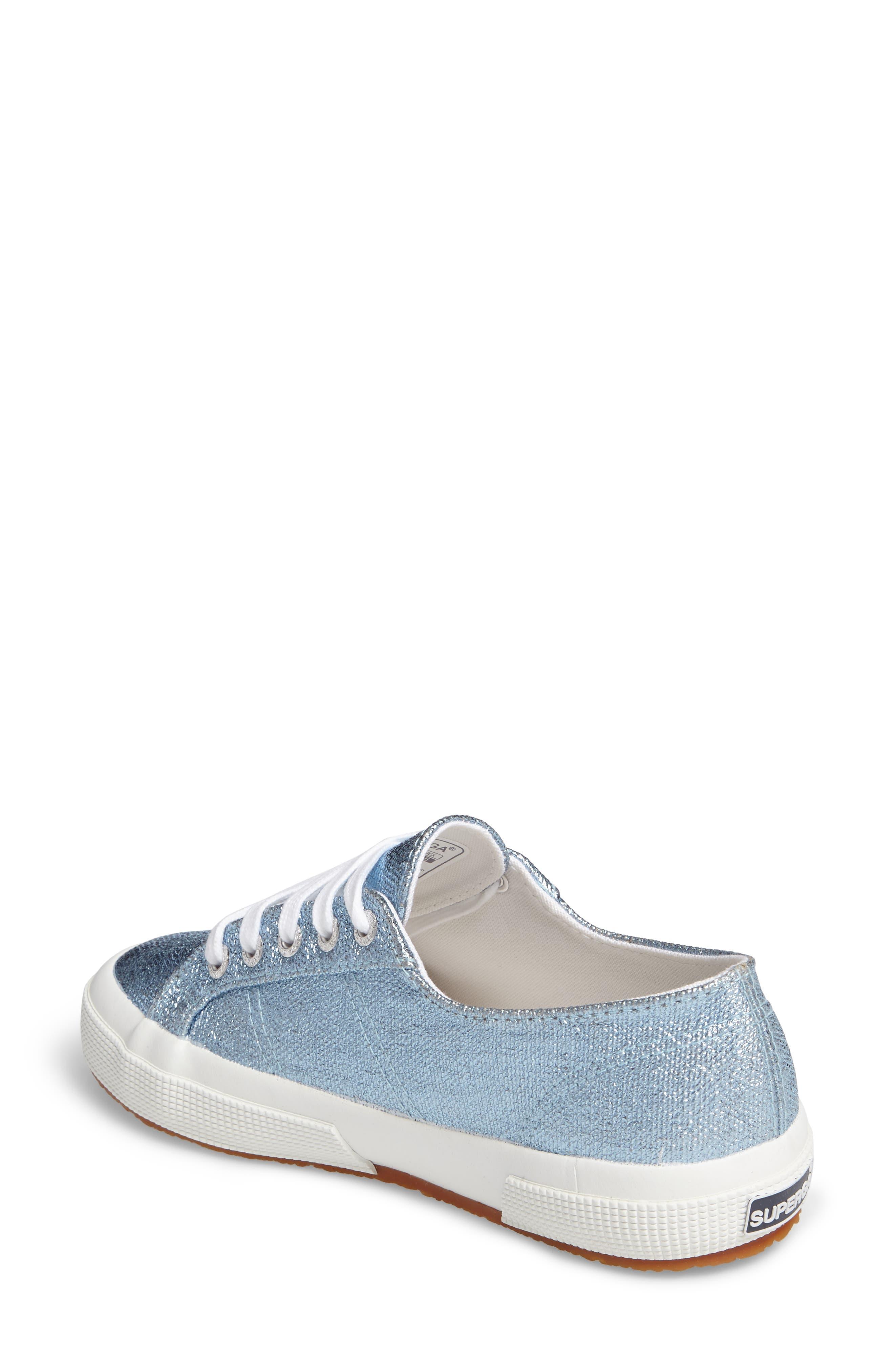 2750 Metallic Sneaker,                             Alternate thumbnail 2, color,                             Light Blue