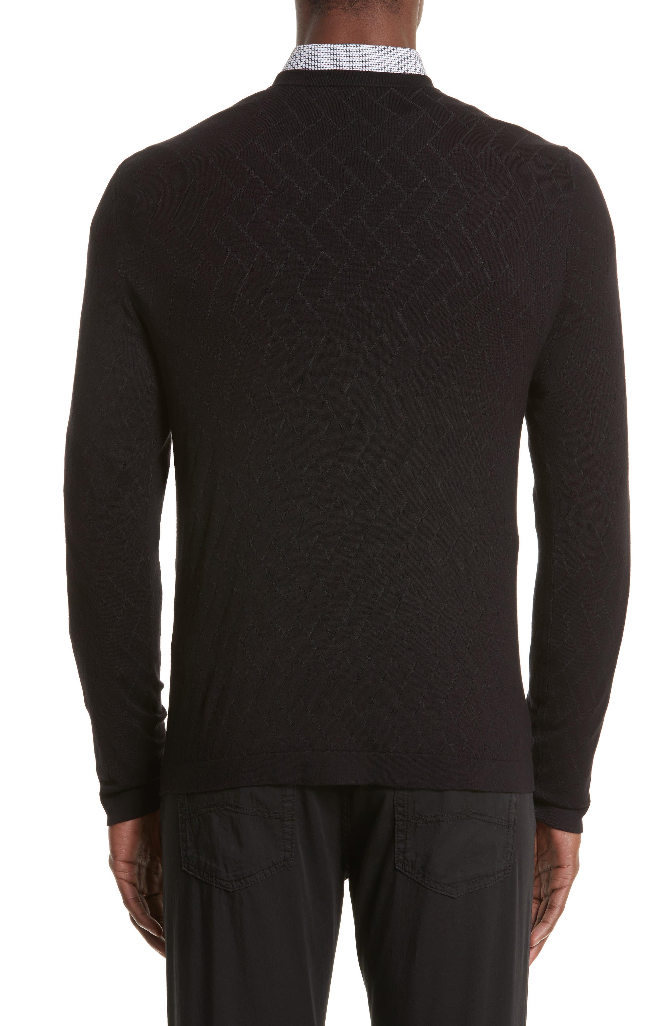 Plated Crewneck Sweater,                             Alternate thumbnail 2, color,                             Black