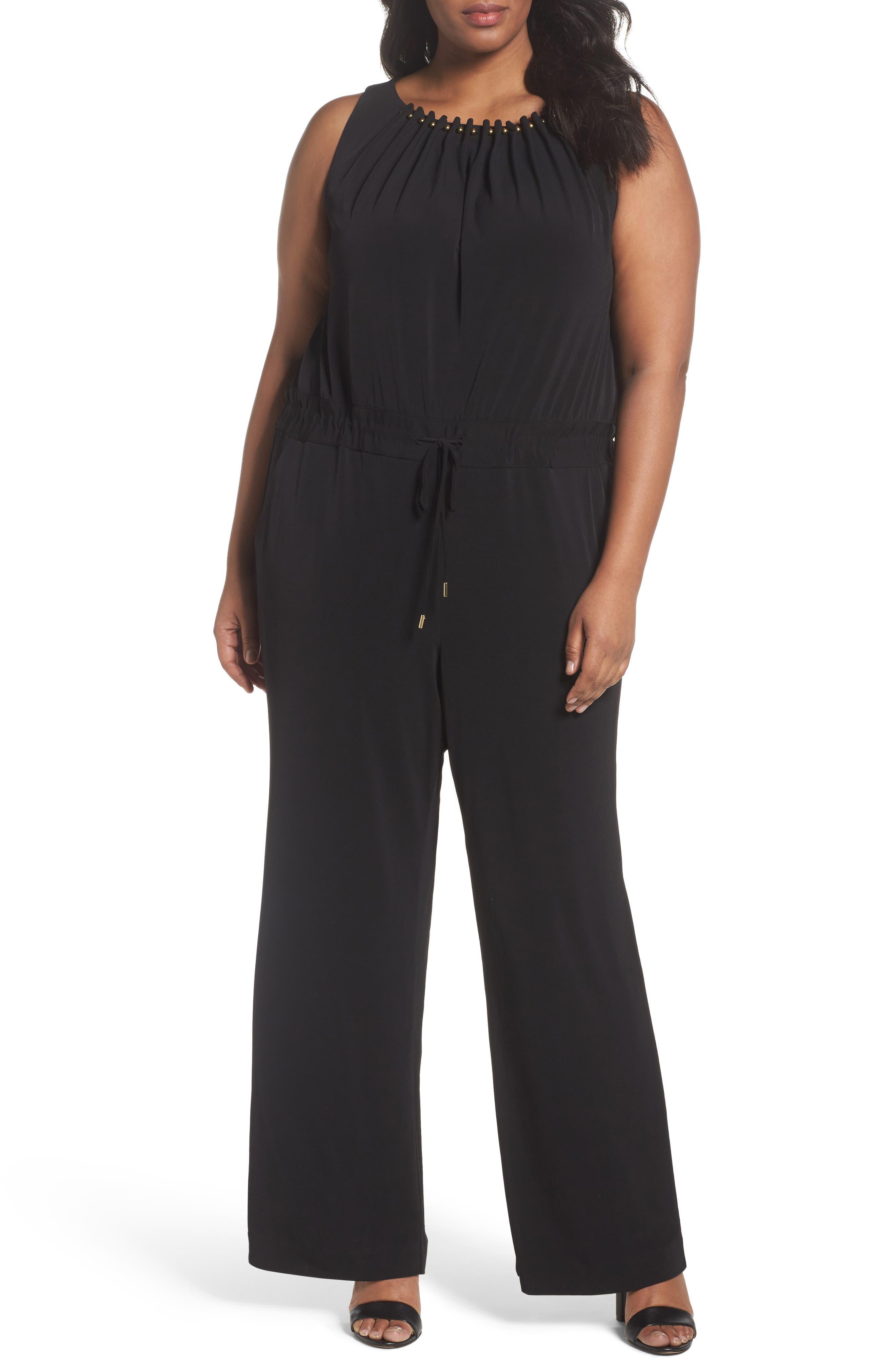 TAHARI Embellished Jersey Jumpsuit