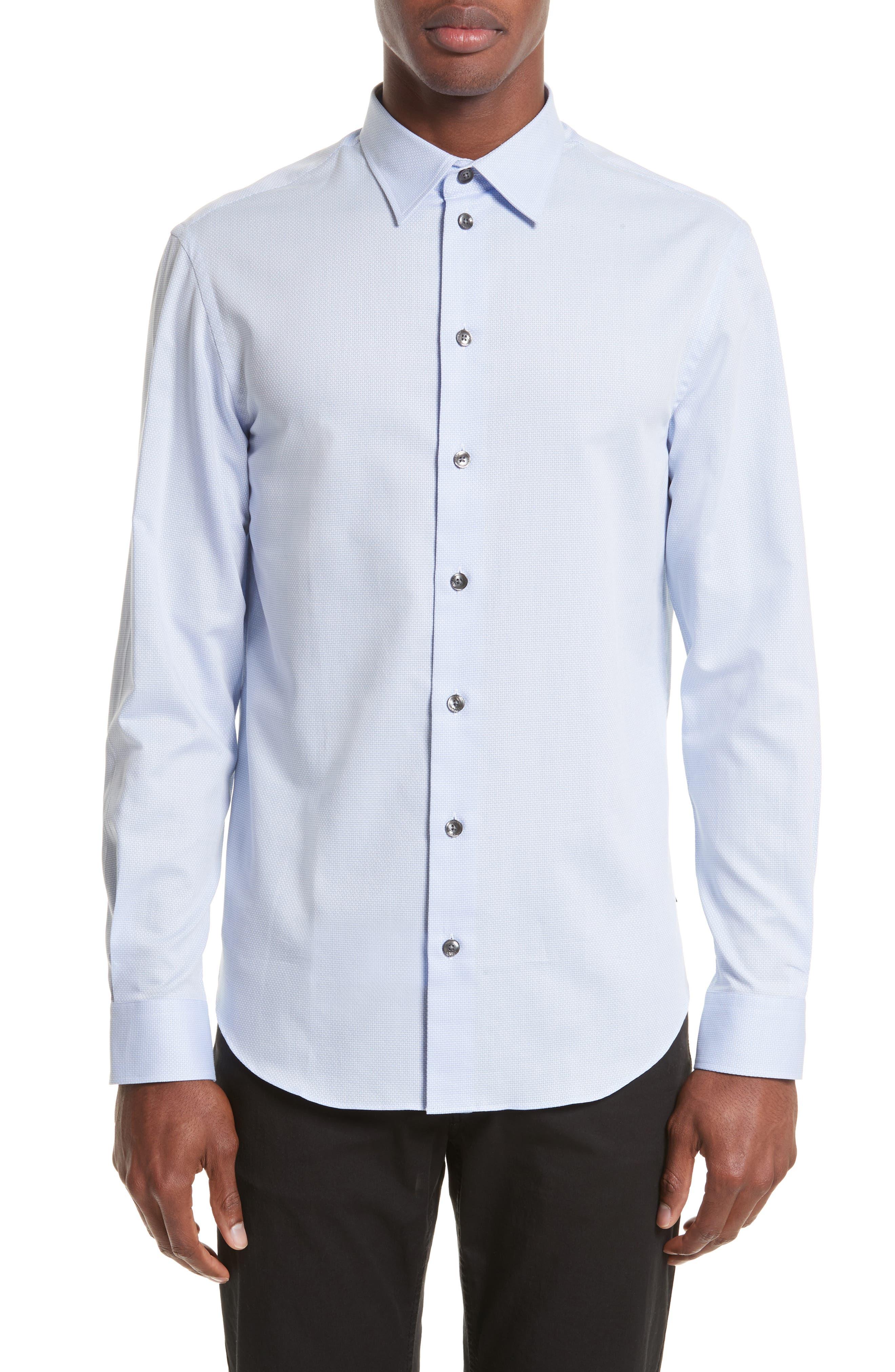 ARMANI COLLEZIONI Geometric Neat Jacquard Sport Shirt