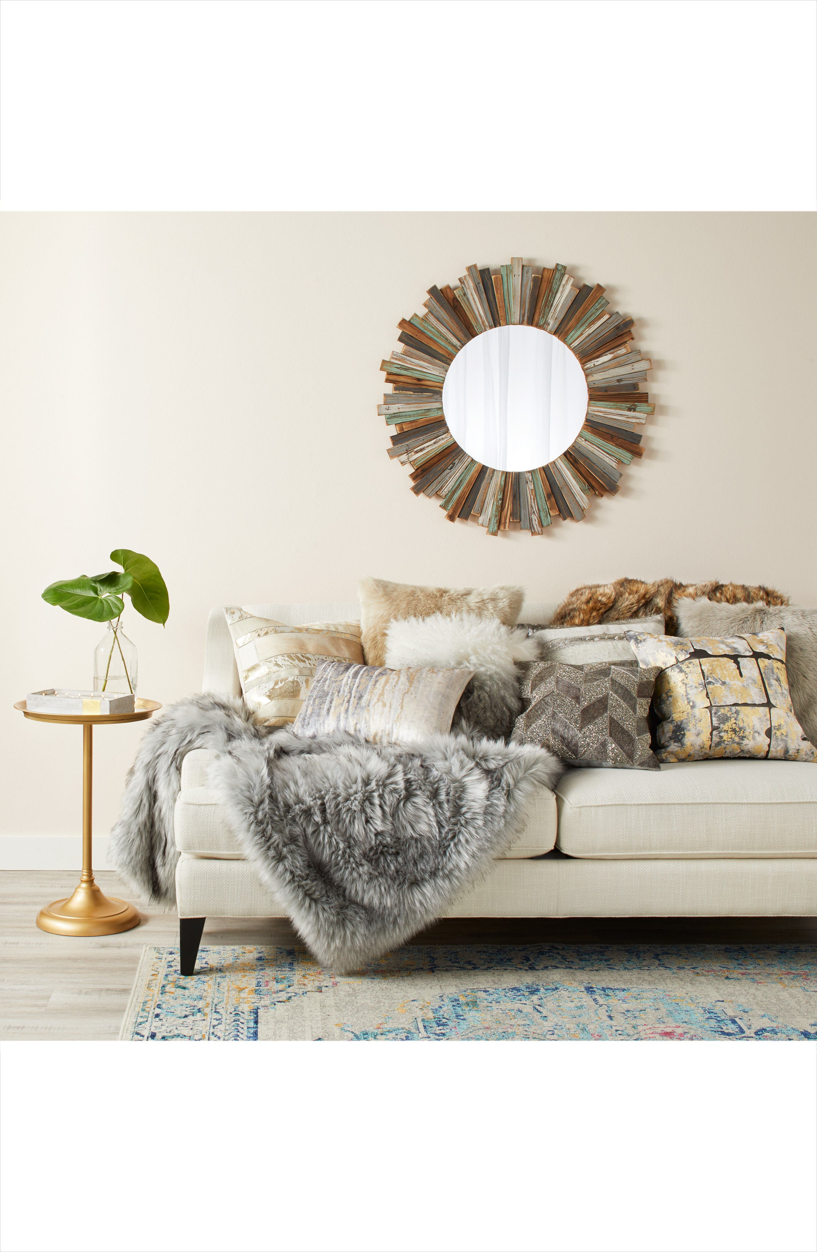 Alternate Image 2  - Crystal Art Gallery Round Wooden Wall Mirror