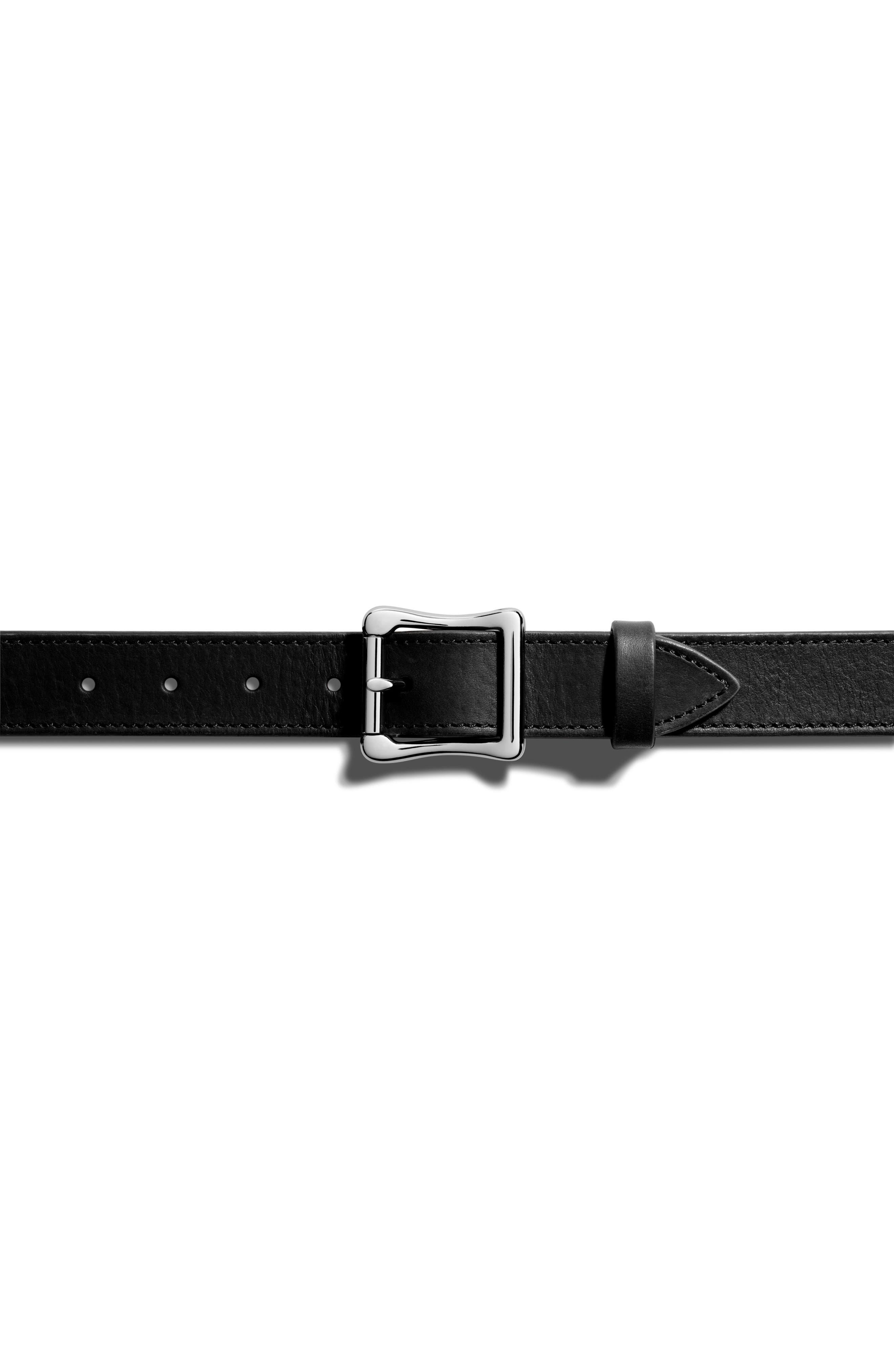 Leather Roller Belt,                             Alternate thumbnail 4, color,                             Black