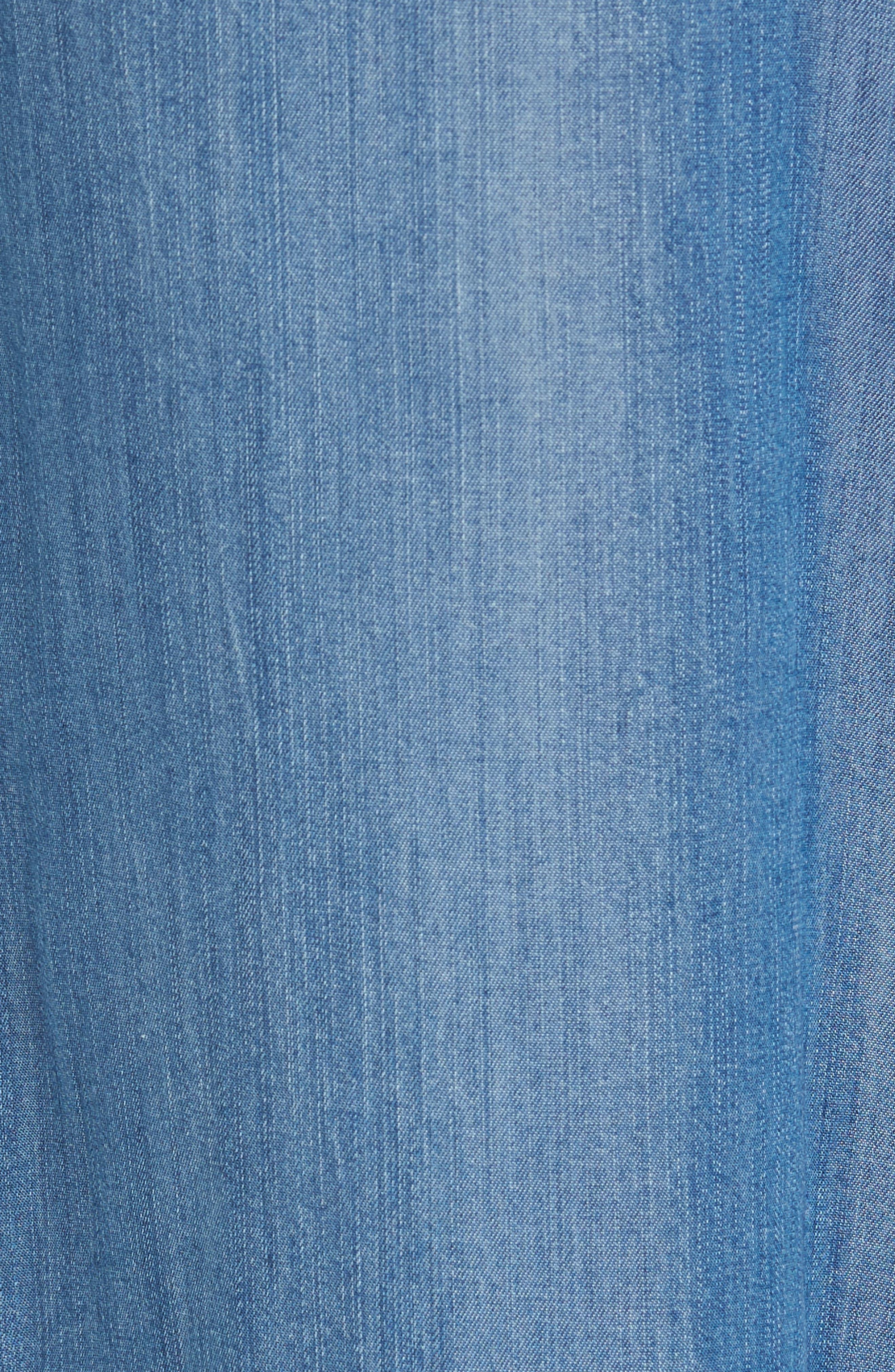 Tie Front Crop Chambray Pants,                             Alternate thumbnail 5, color,                             Medium Blue