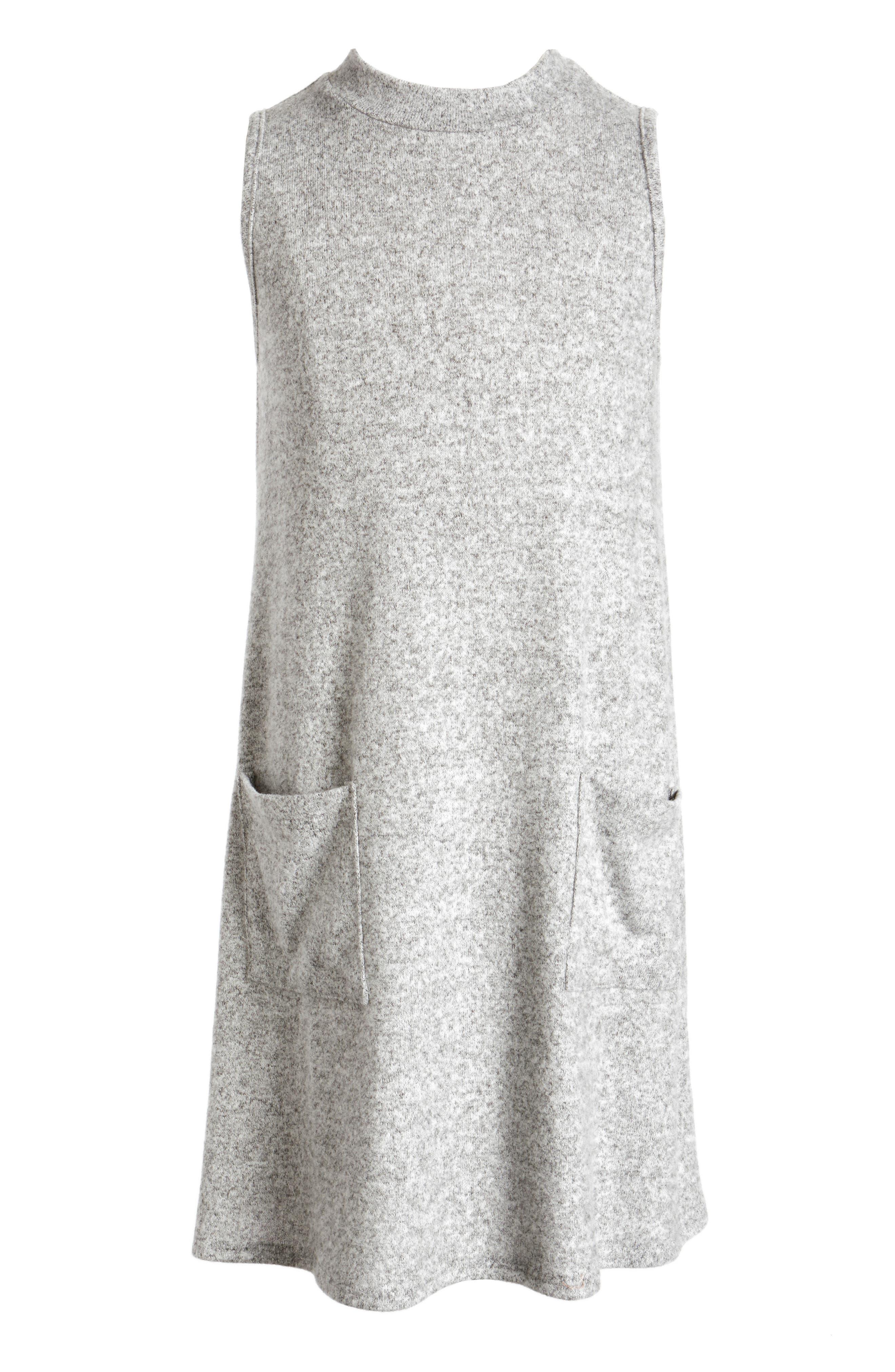 Mock Neck Dress,                         Main,                         color, Heather Grey