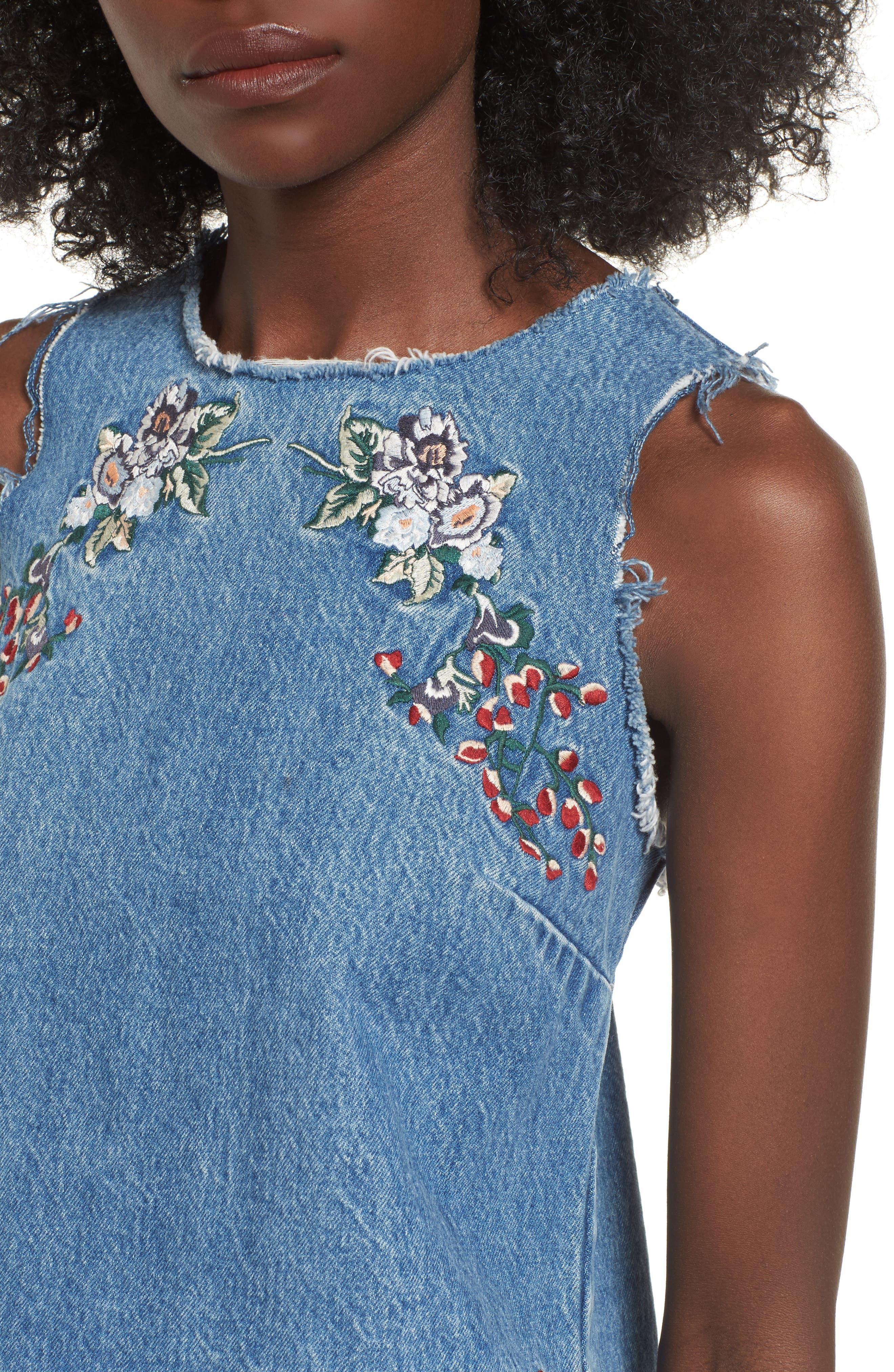 Scarlett Embroidered Denim Tank Top,                             Alternate thumbnail 4, color,                             Nairobi Wash