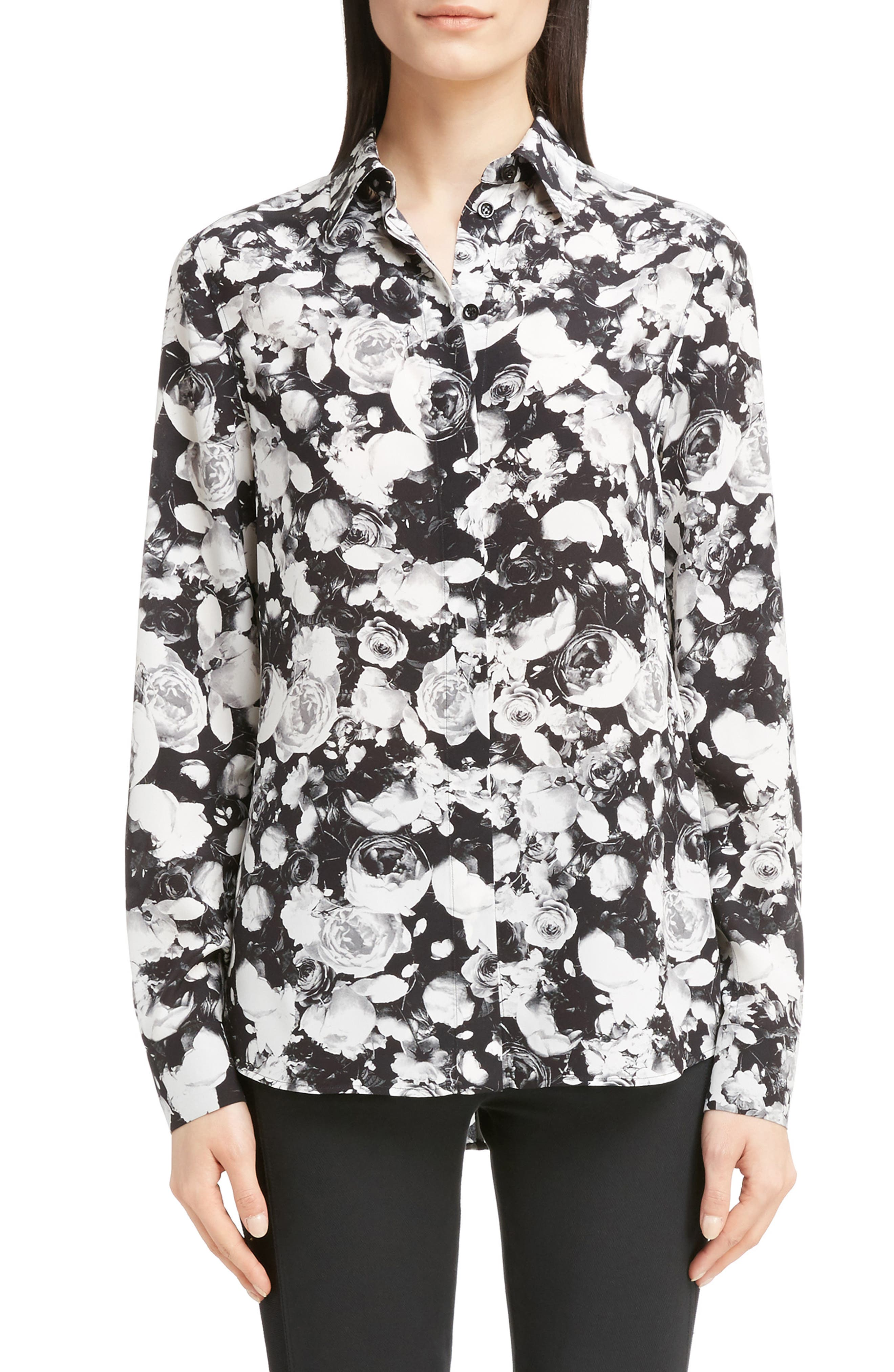 Givenchy Rose Print Silk Blouse