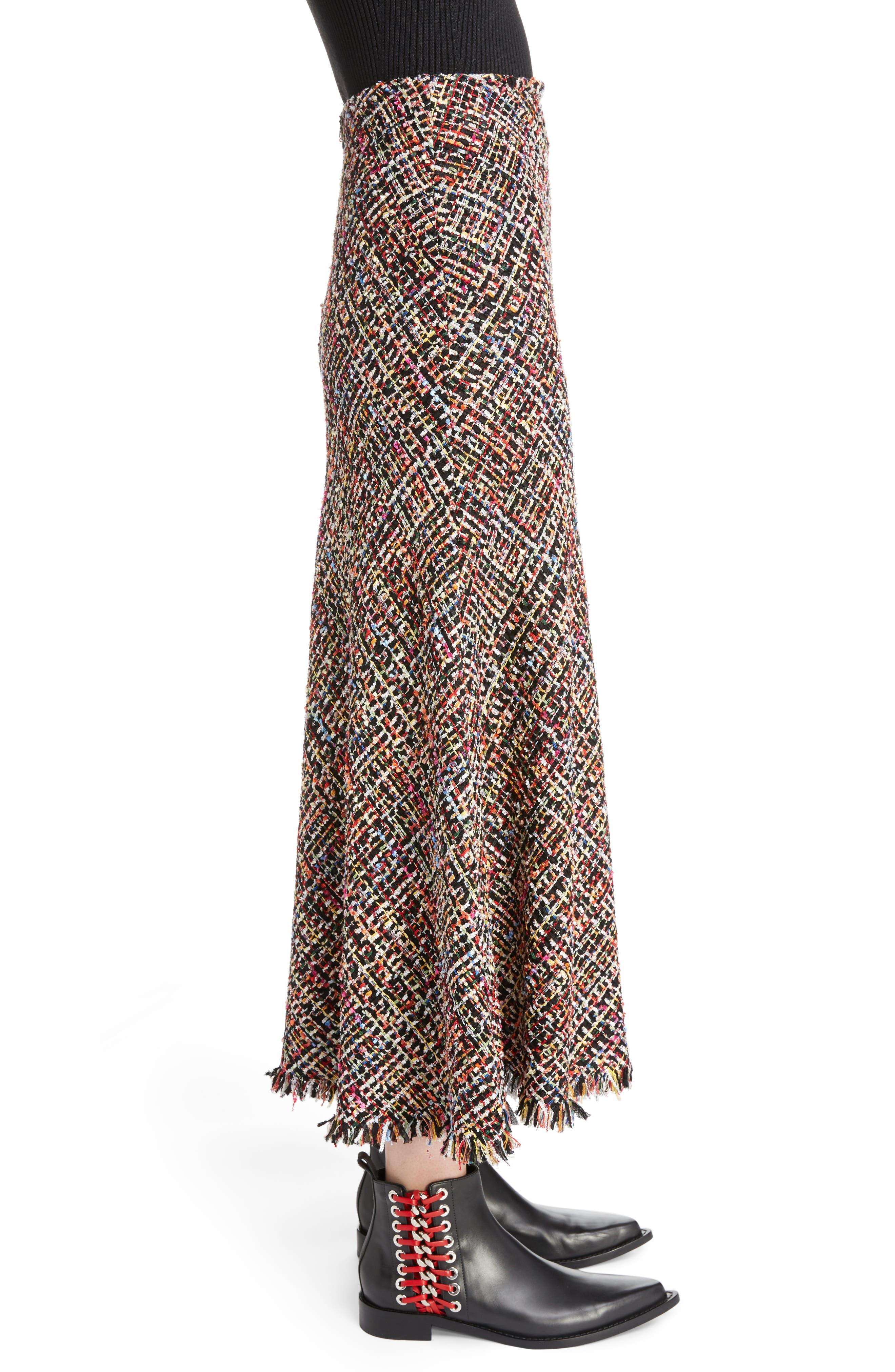 Wishing Tree Tweed Skirt,                             Alternate thumbnail 3, color,                             Black Mix