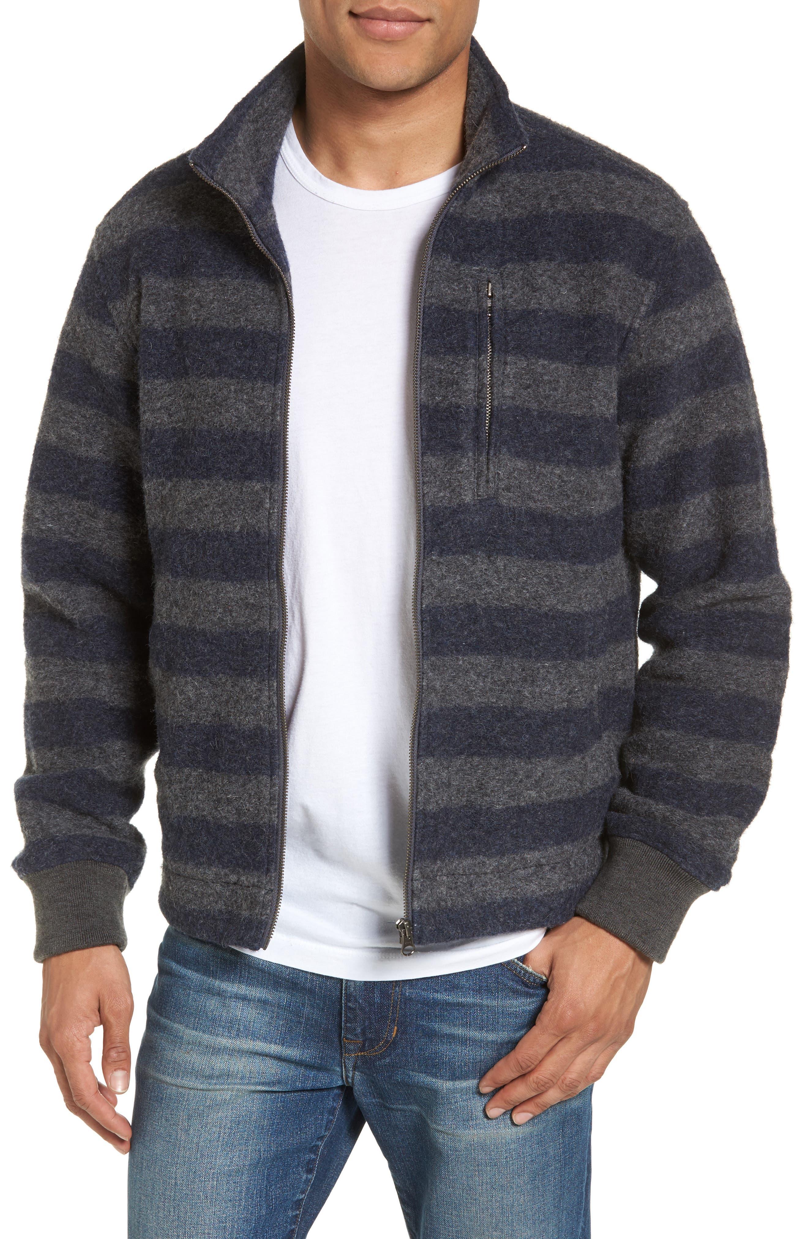 Bowen Stripe Zip Front Jacket,                             Main thumbnail 1, color,                             Grey Navy Stripe