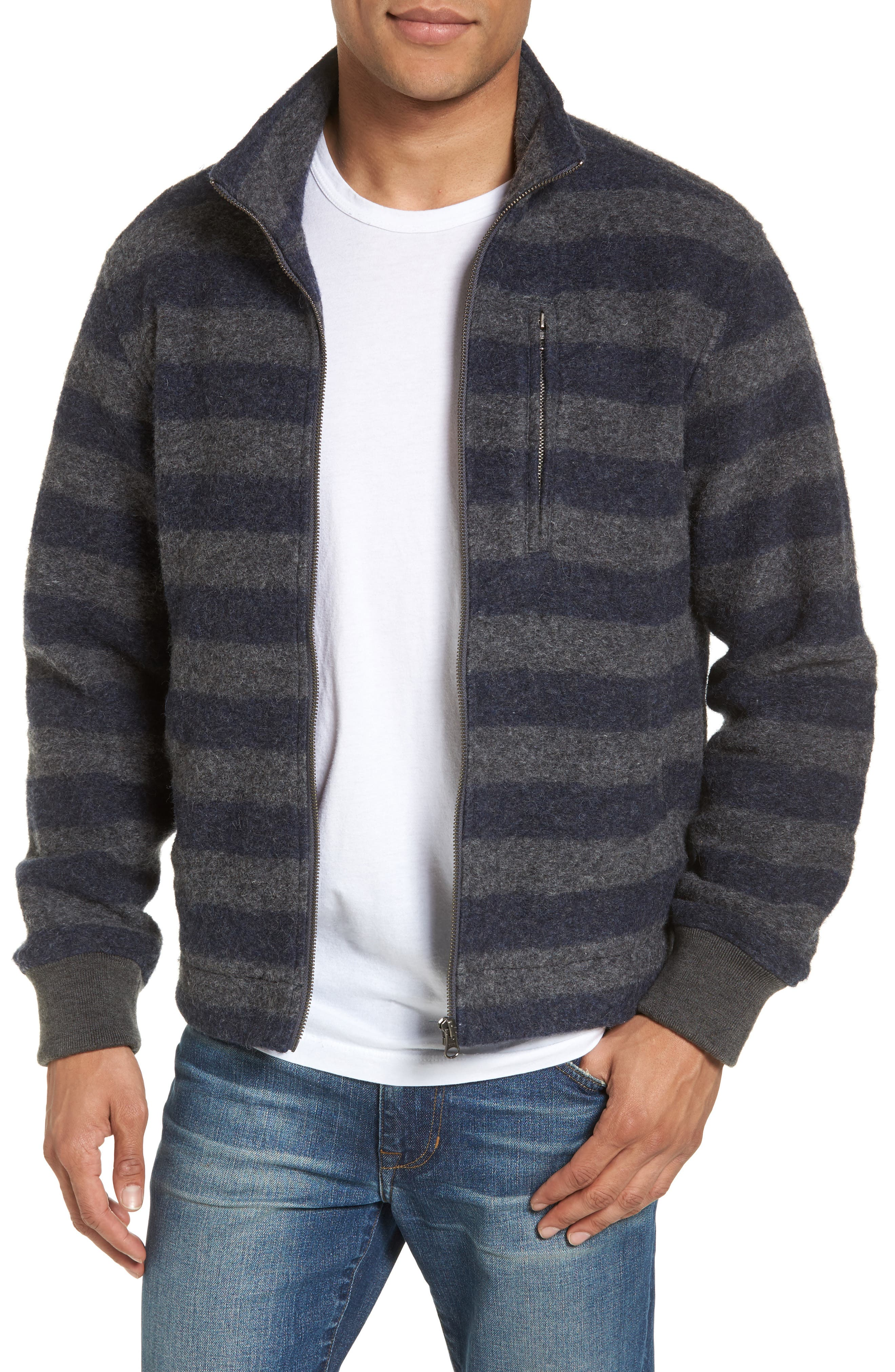 Bowen Stripe Zip Front Jacket,                         Main,                         color, Grey Navy Stripe