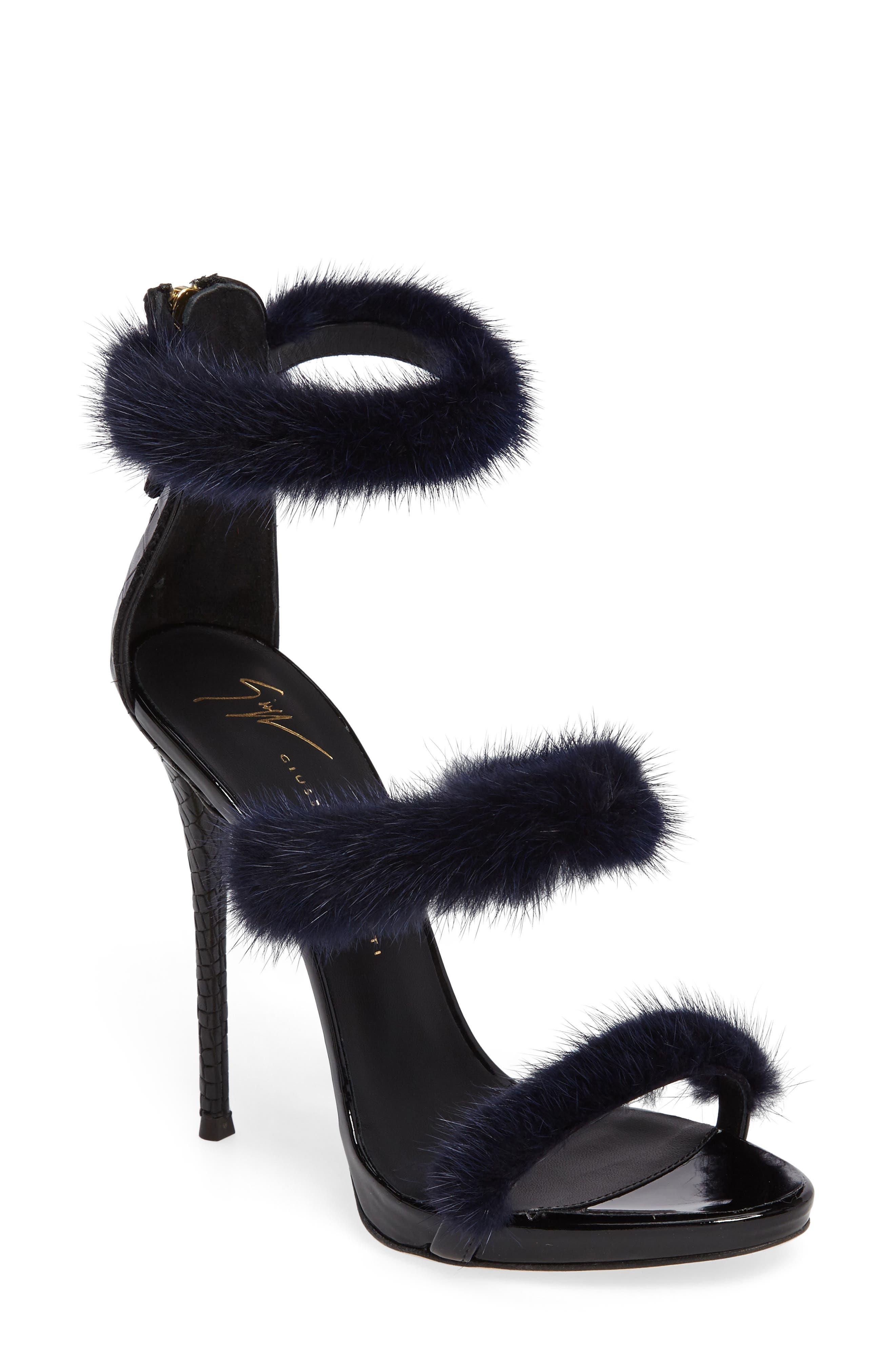 Genuine Mink Fur Triple Band Sandal,                         Main,                         color, Navy/ Black