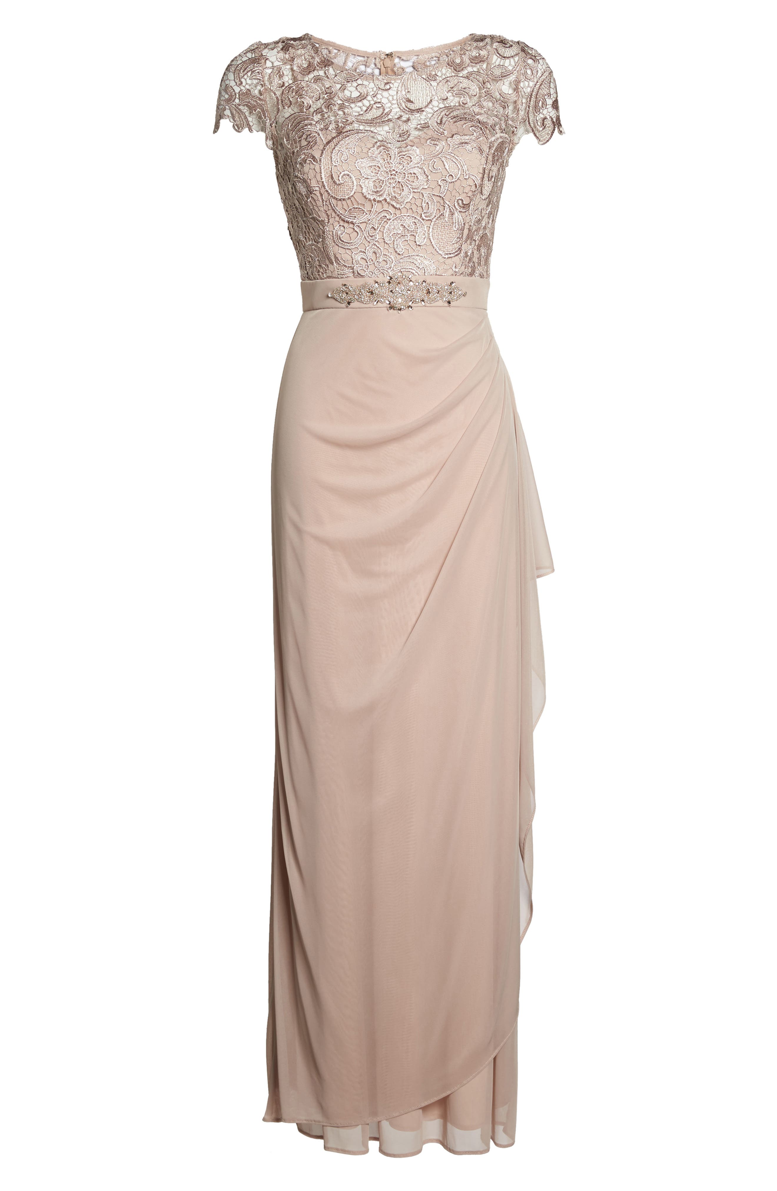 Lace Column Gown,                             Alternate thumbnail 6, color,                             Taupe