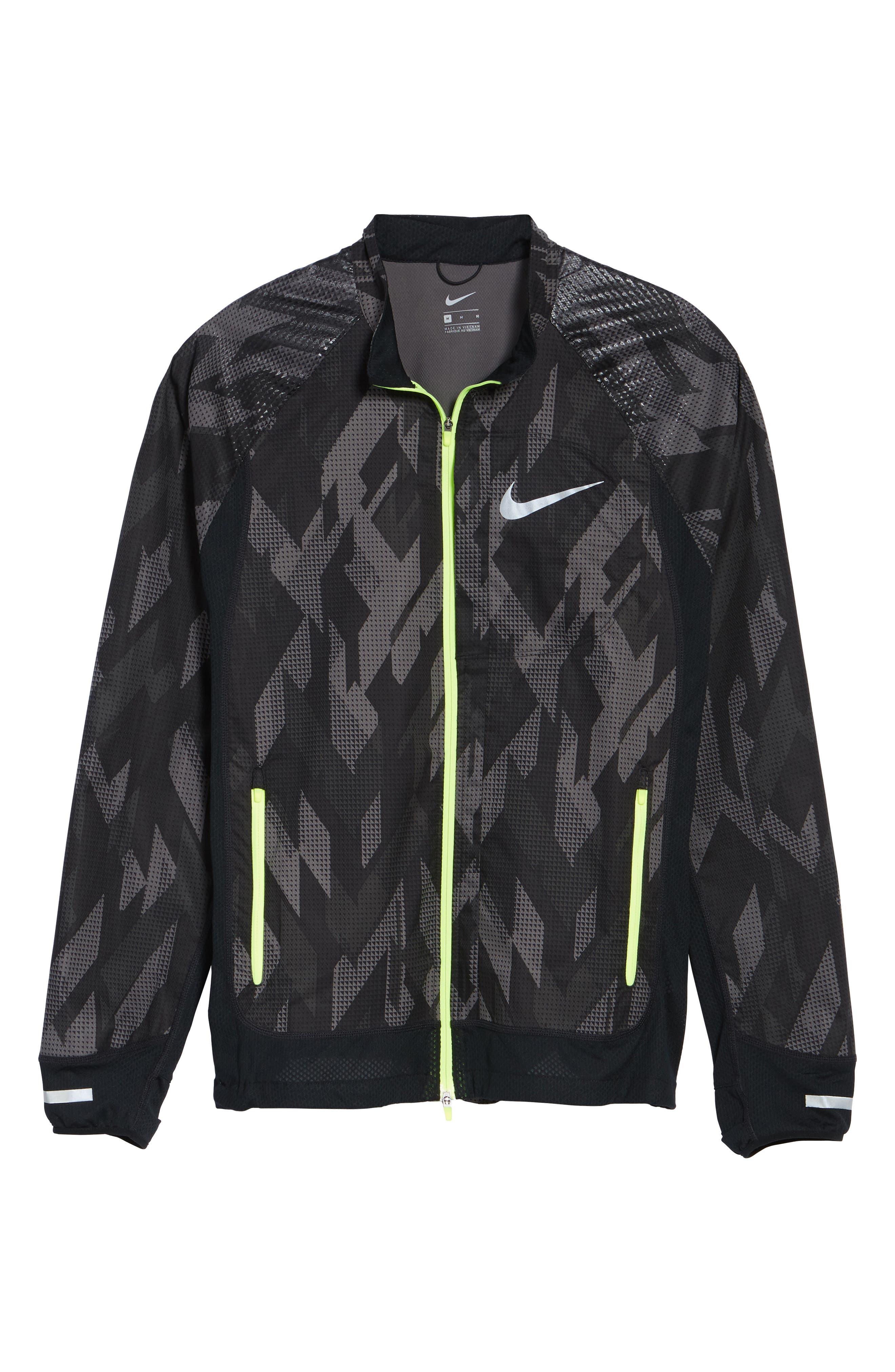 Flex Running Jacket,                             Alternate thumbnail 4, color,                             Black/ Black/ Volt