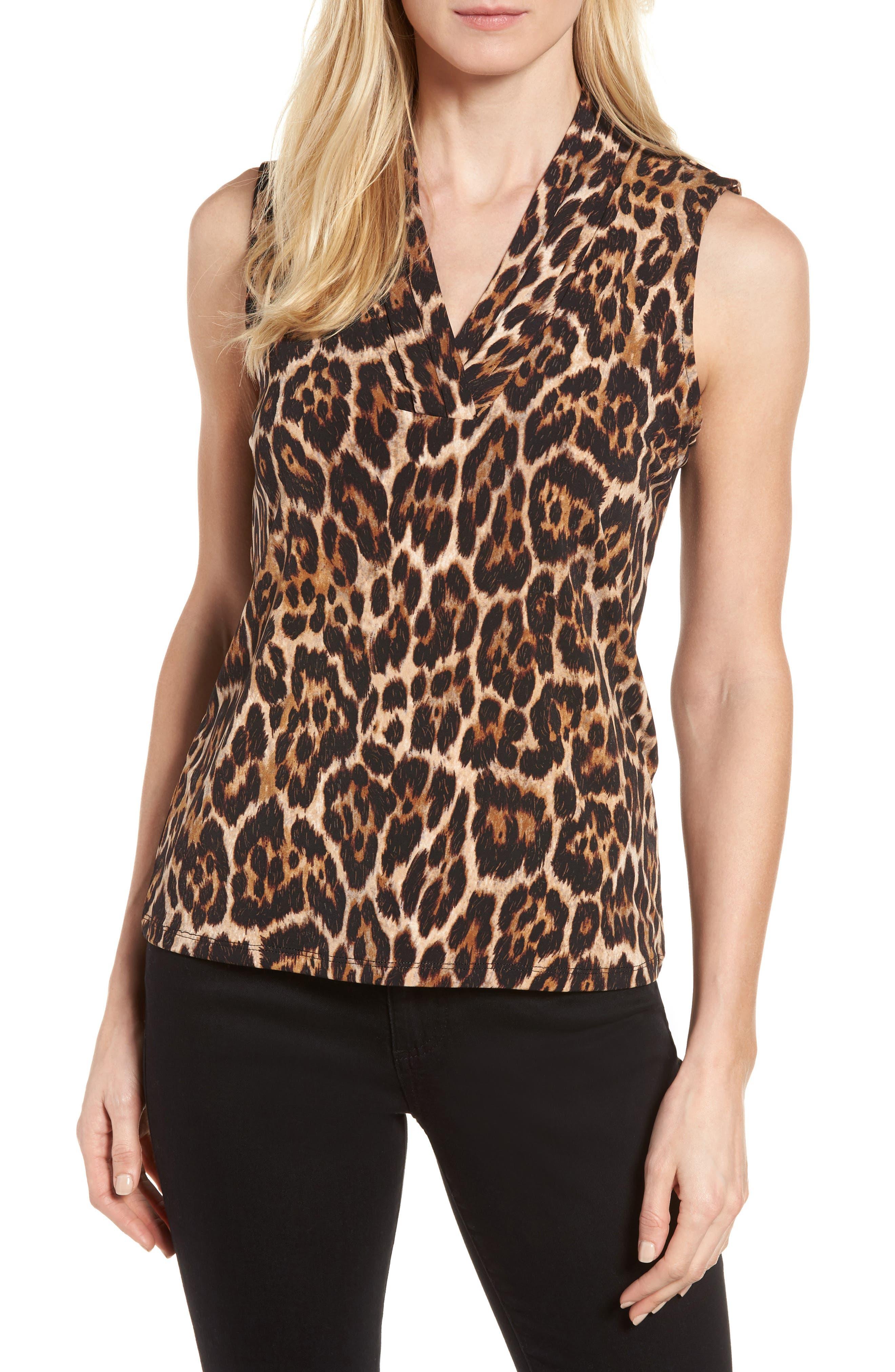 Leopard Print Pleat V-Neck Top,                         Main,                         color, Baton Combo