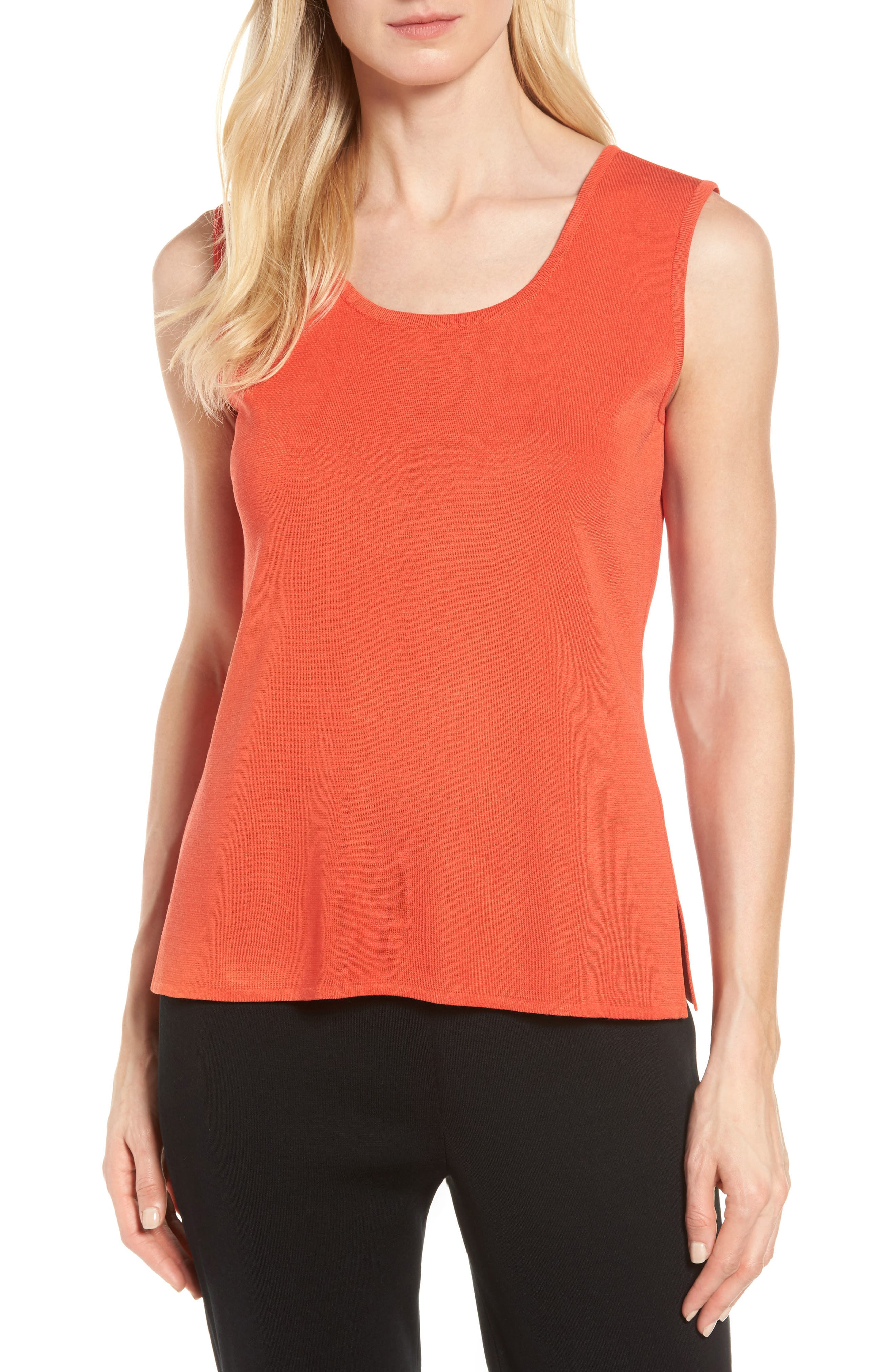Scoop Neck Tank,                         Main,                         color, Flame