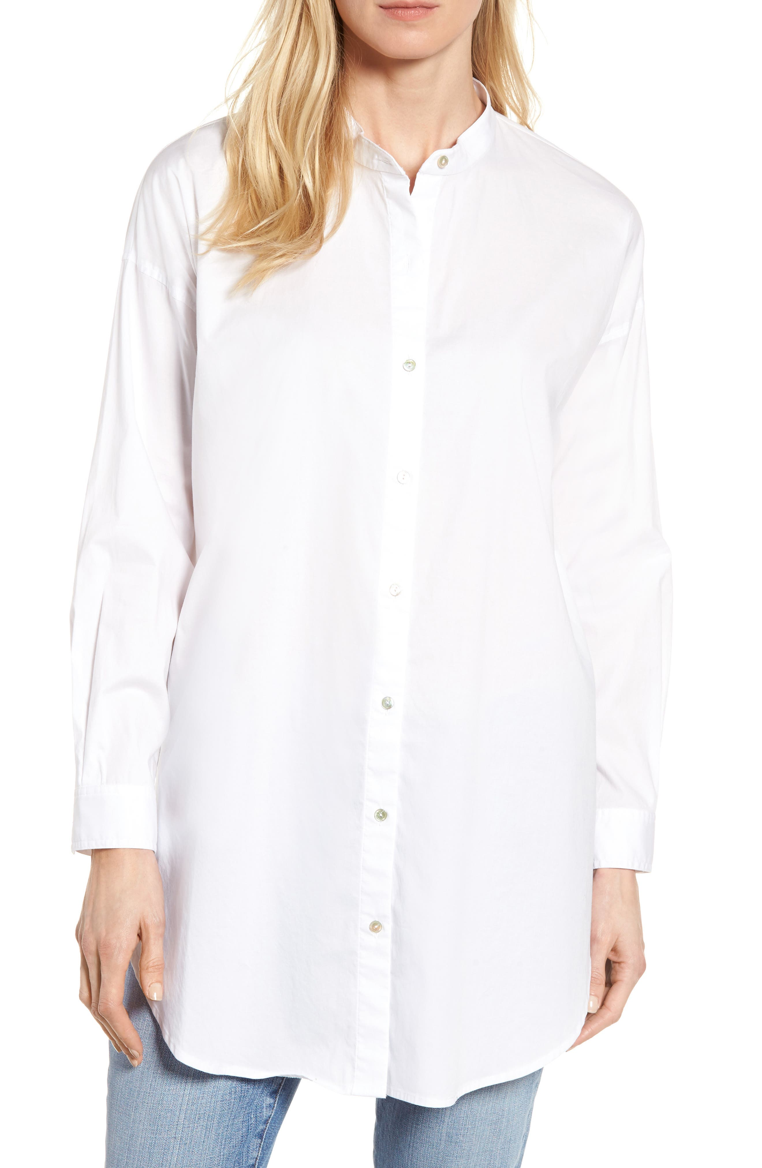 Eileen Fisher Stretch Organic Cotton Tunic Shirt (Regular & Petite)