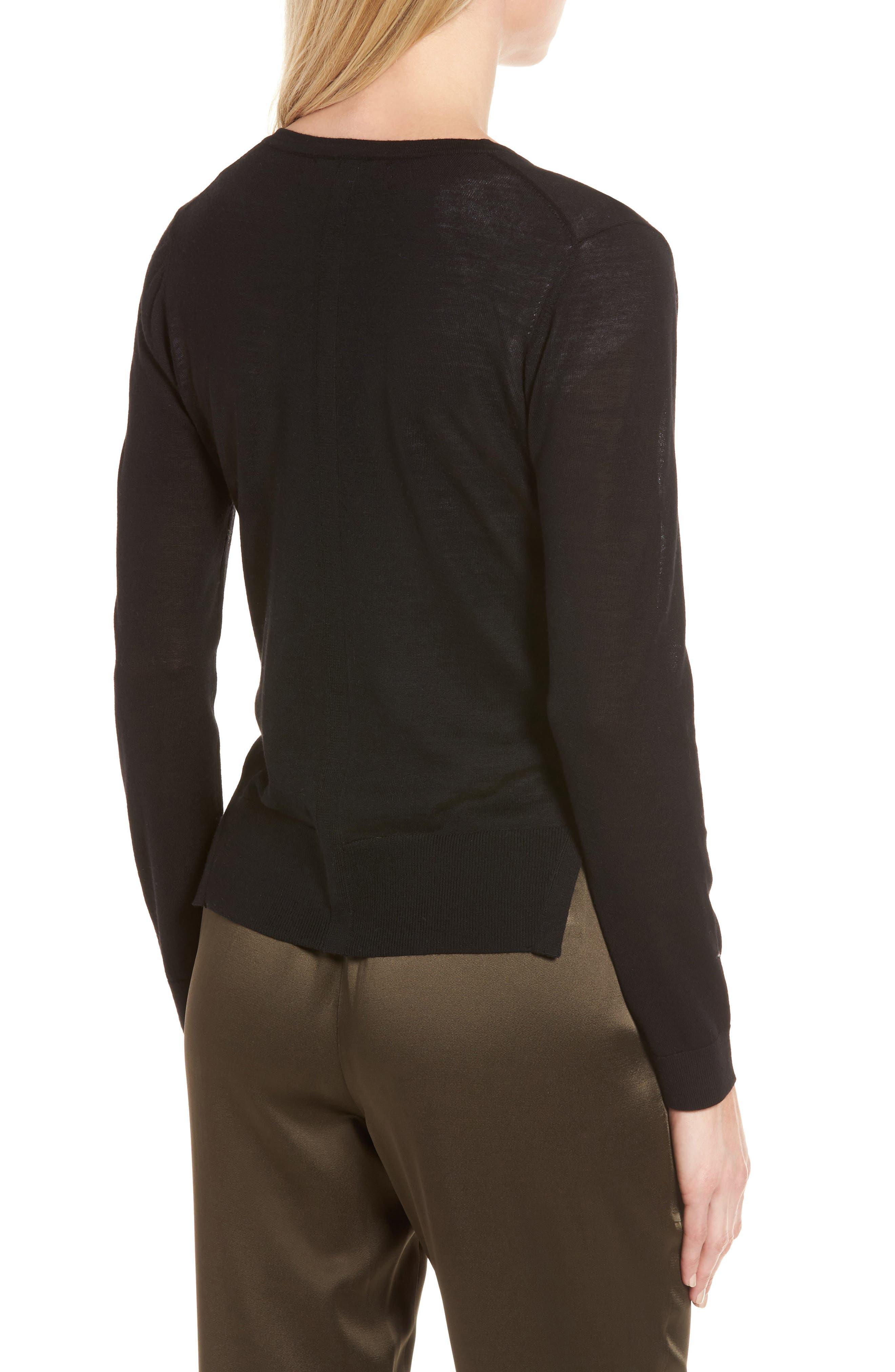 Italian Merino Wool Cardigan,                             Alternate thumbnail 2, color,                             Black