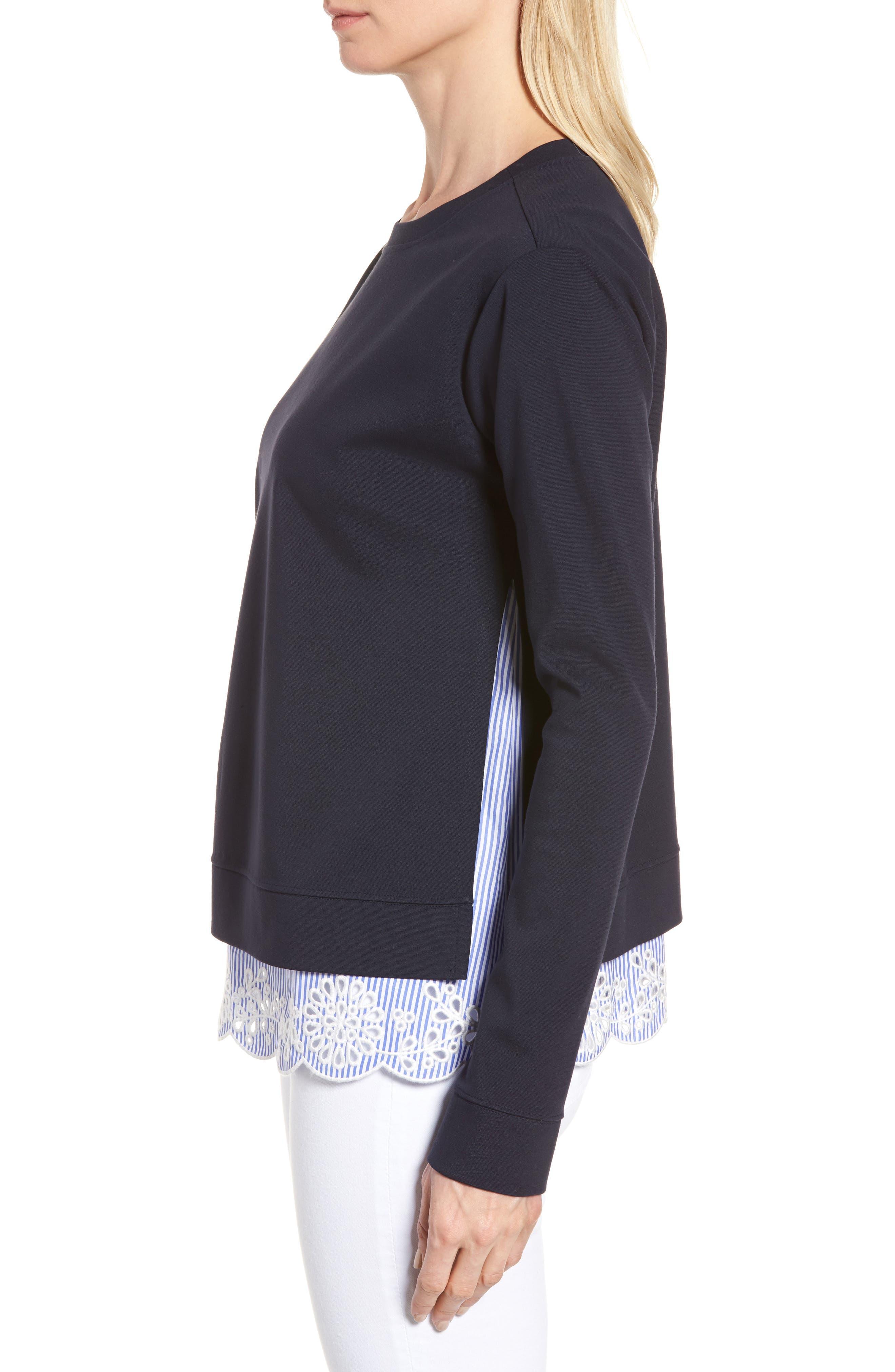 Woven Inset Ponte Knit Sweatshirt,                             Alternate thumbnail 3, color,                             Navy Night