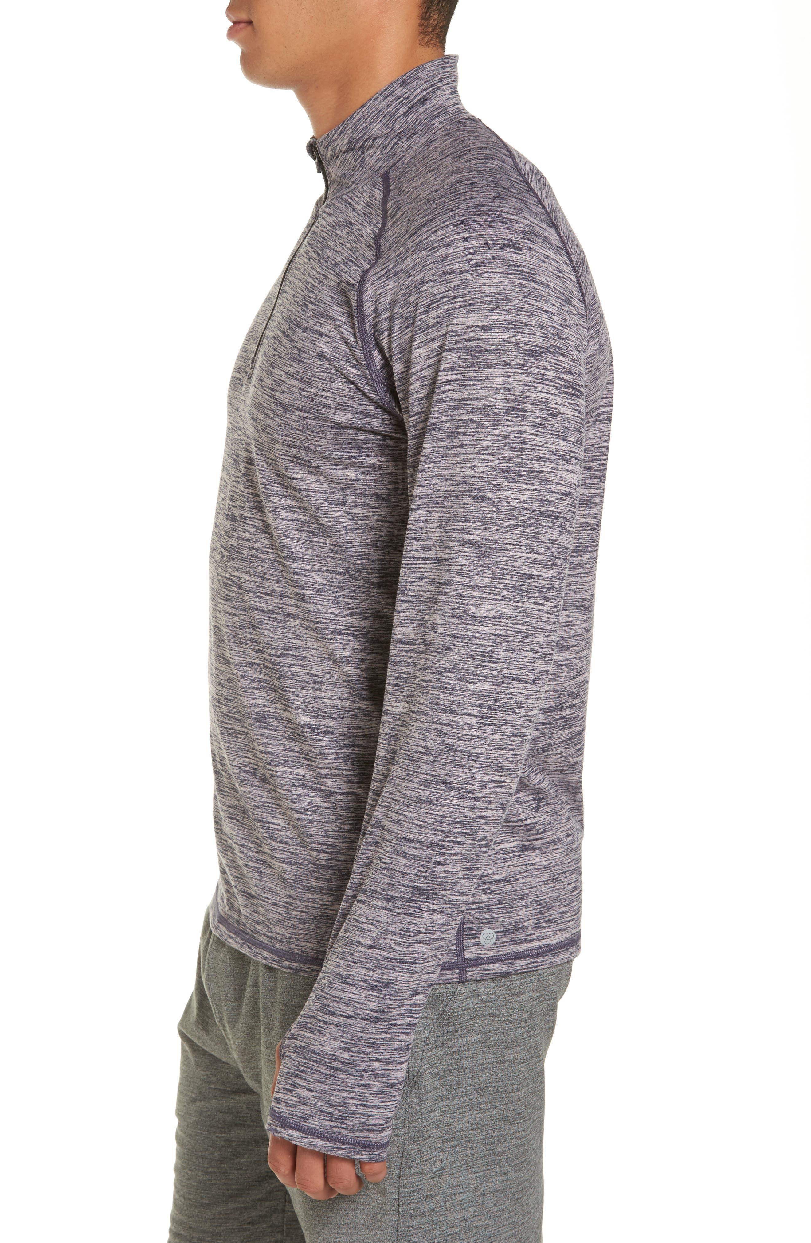 Celsian Quarter Zip Pullover,                             Alternate thumbnail 3, color,                             Purple Navy Melange
