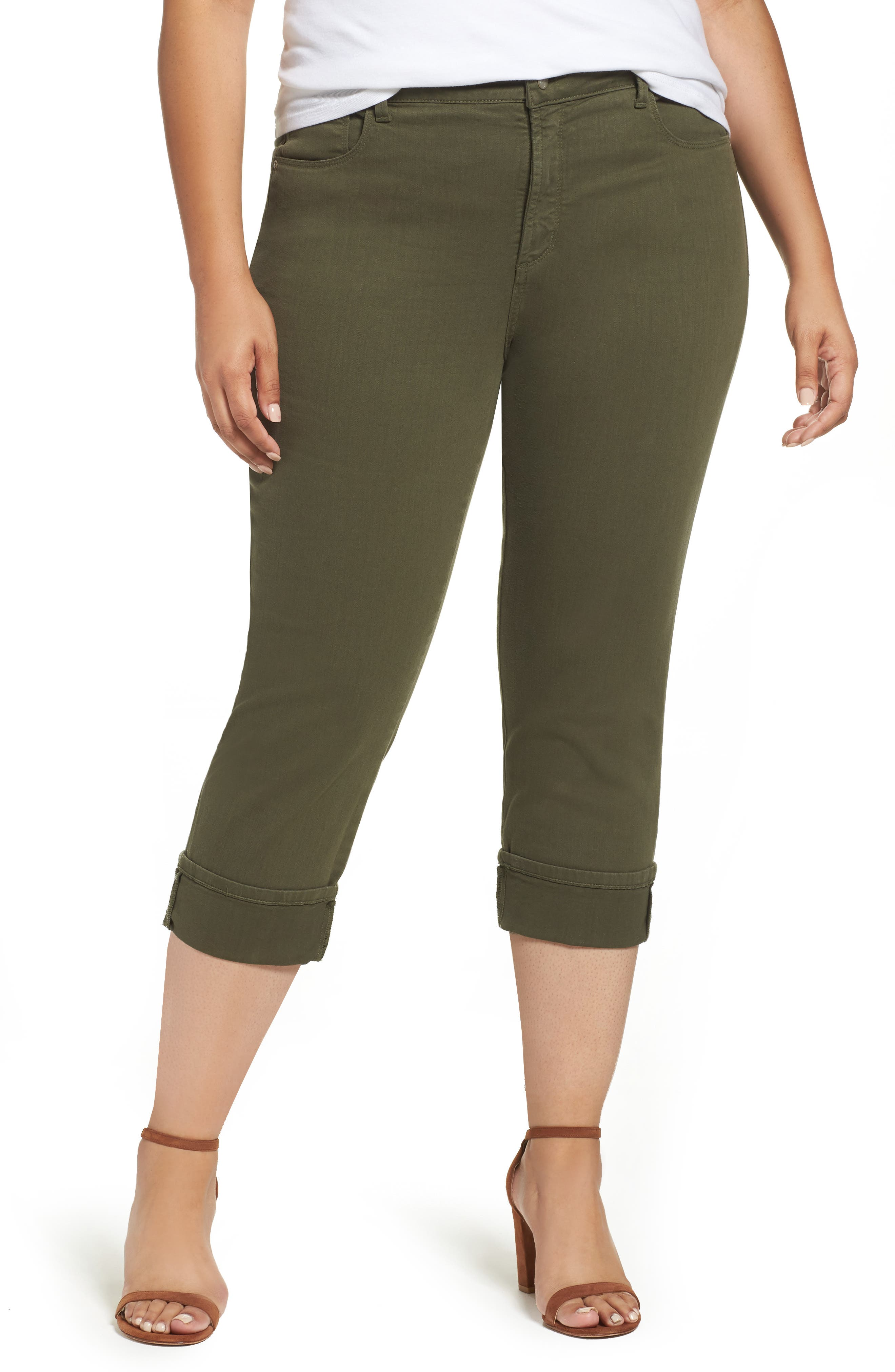 Main Image - NYDJ Dayla Colored Wide Cuff Capri Jeans (Plus Size)