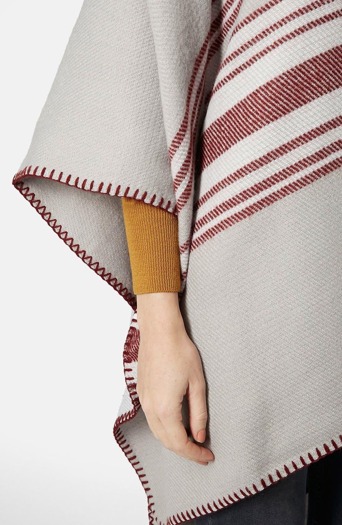 Alternate Image 4  - Topshop Stripe Blanket Cape