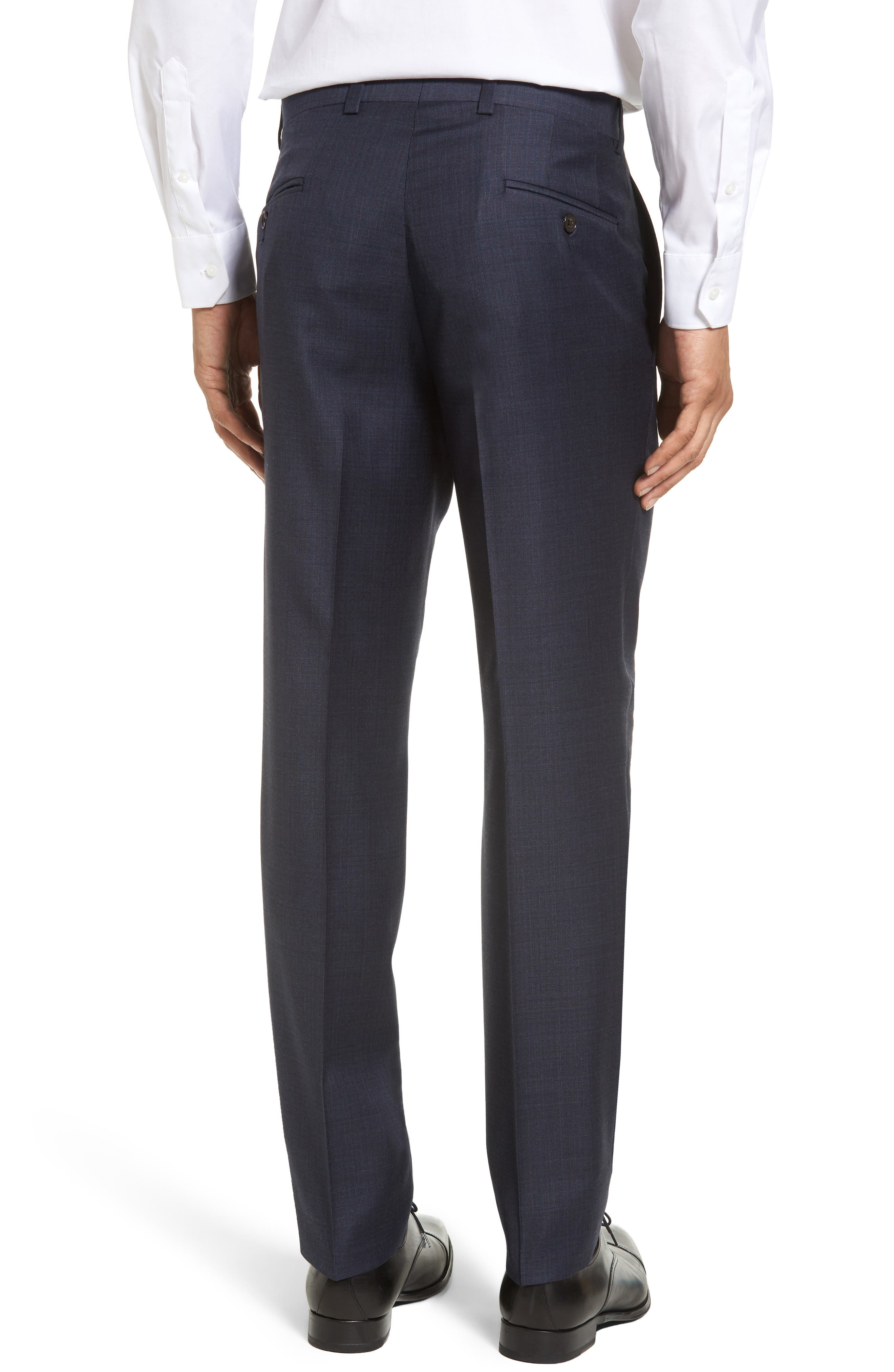 Jefferson Flat Front Solid Wool Trousers,                             Alternate thumbnail 2, color,                             Navy