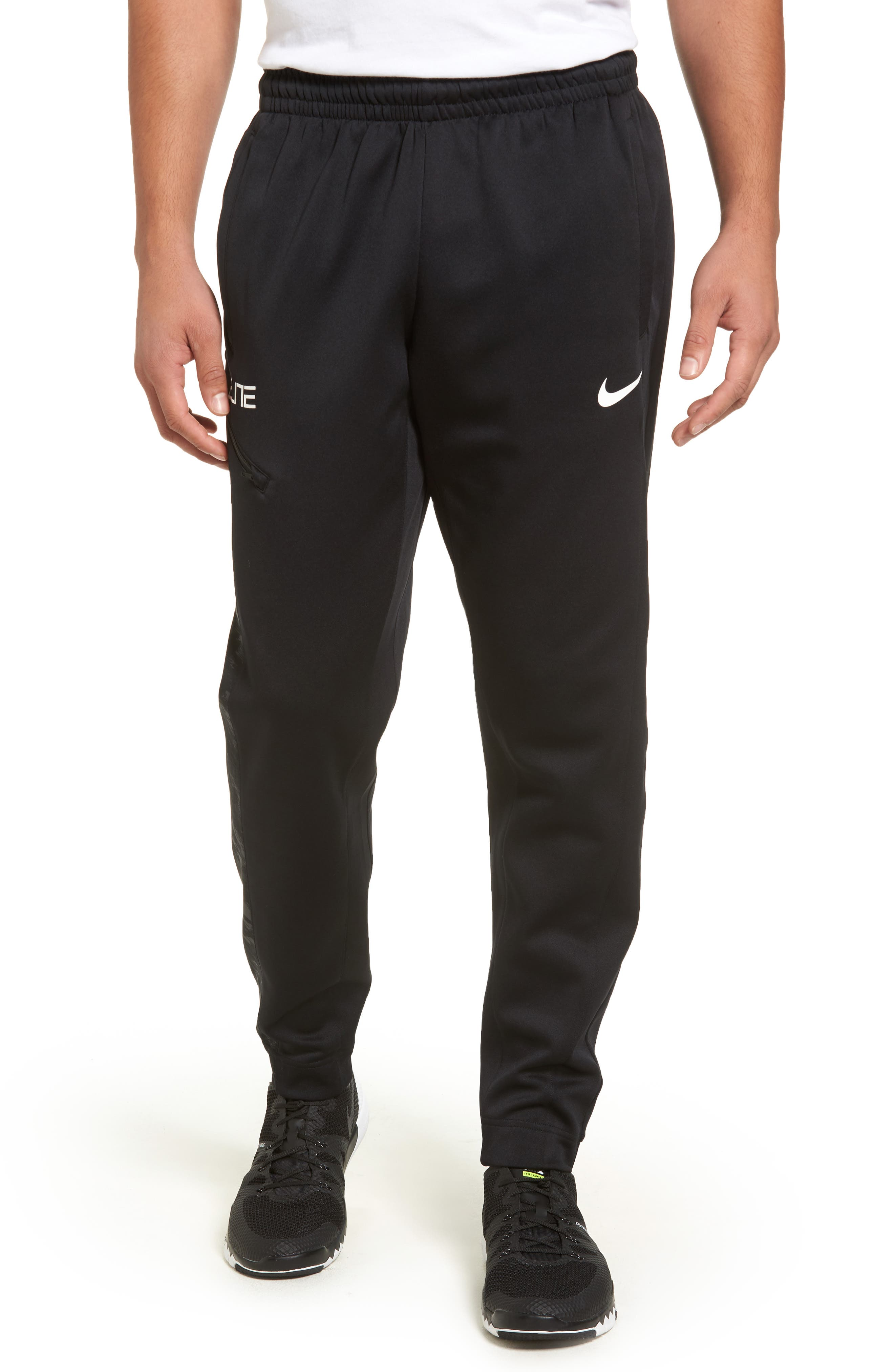 Therma Elite Basketball Pants,                         Main,                         color, Black/ White