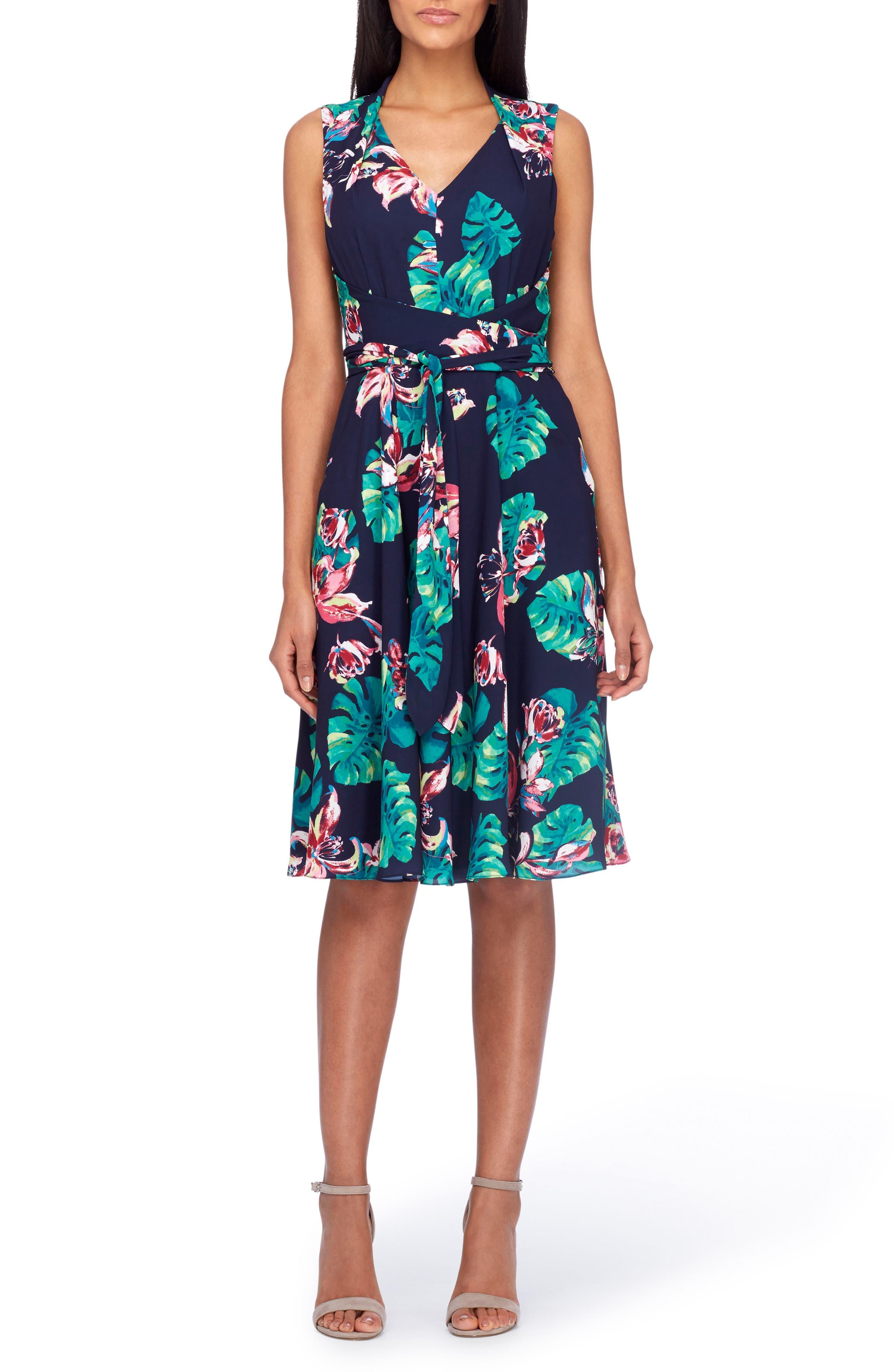 Tahari Palm Fit & Flare Dress (Regular & Petite)
