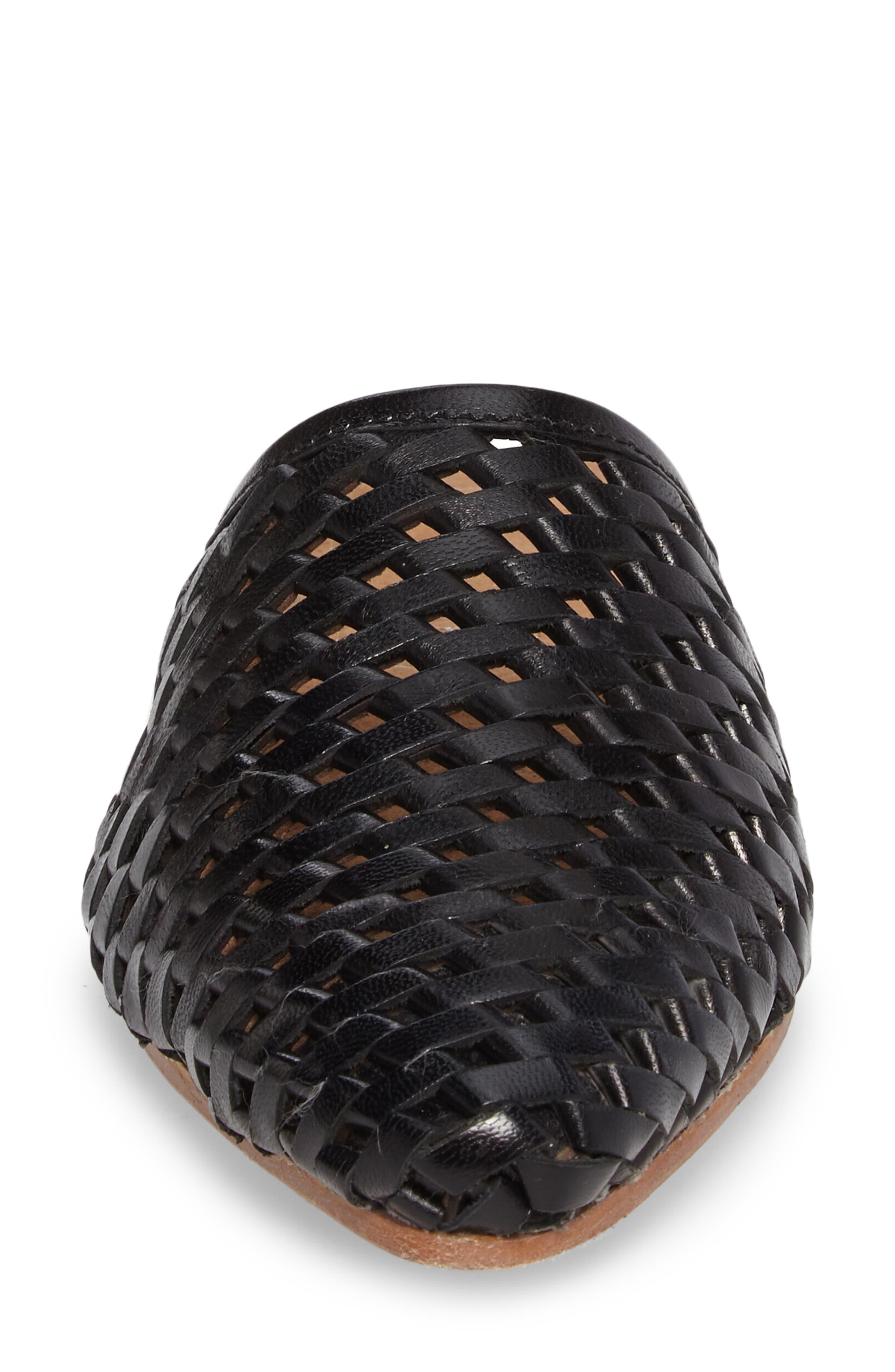 Doshi Woven Mule,                             Alternate thumbnail 4, color,                             Black Leather