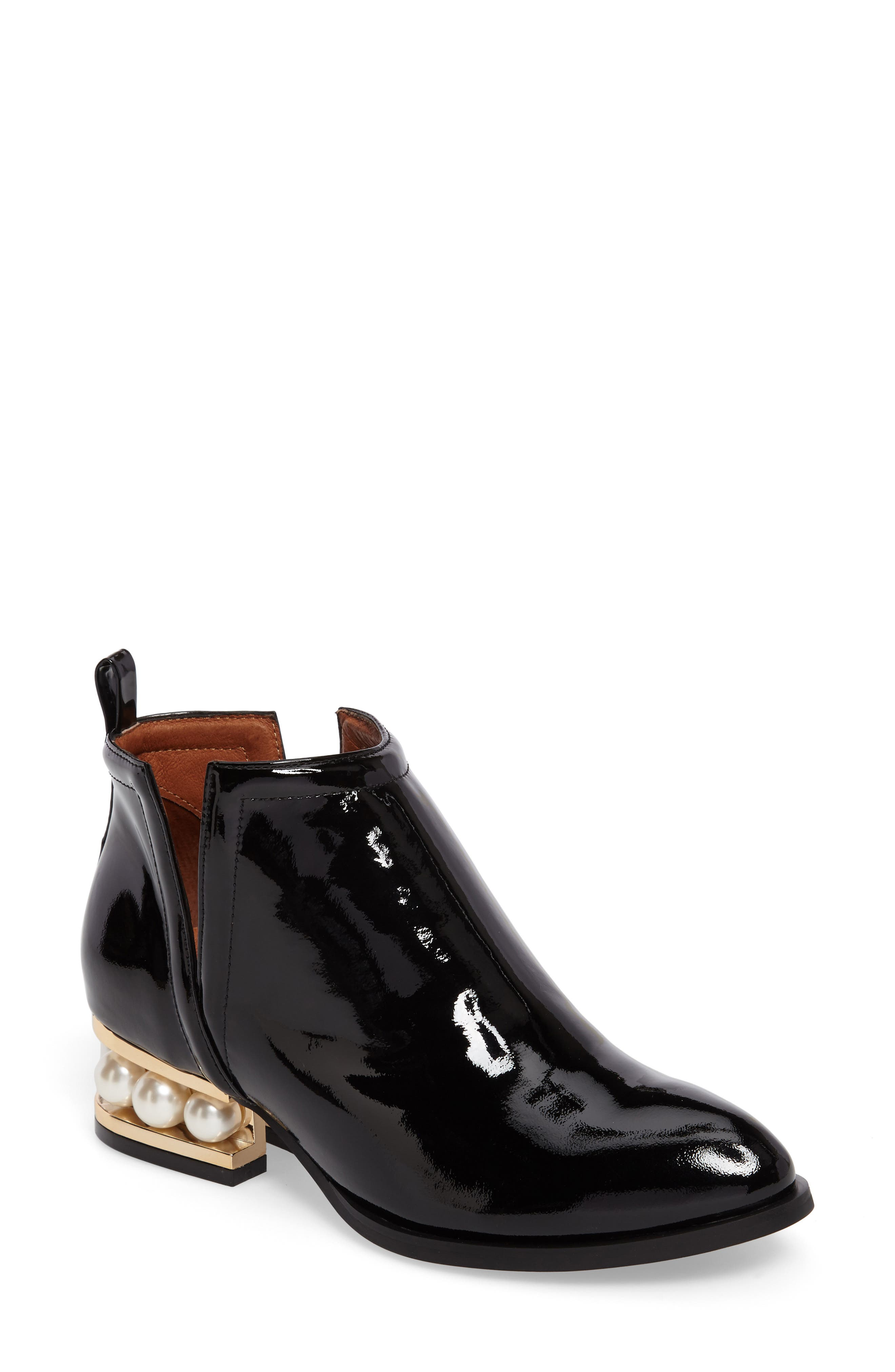 Musklo Split-Shaft Bootie,                             Main thumbnail 1, color,                             Black/ Gold Patent Leather