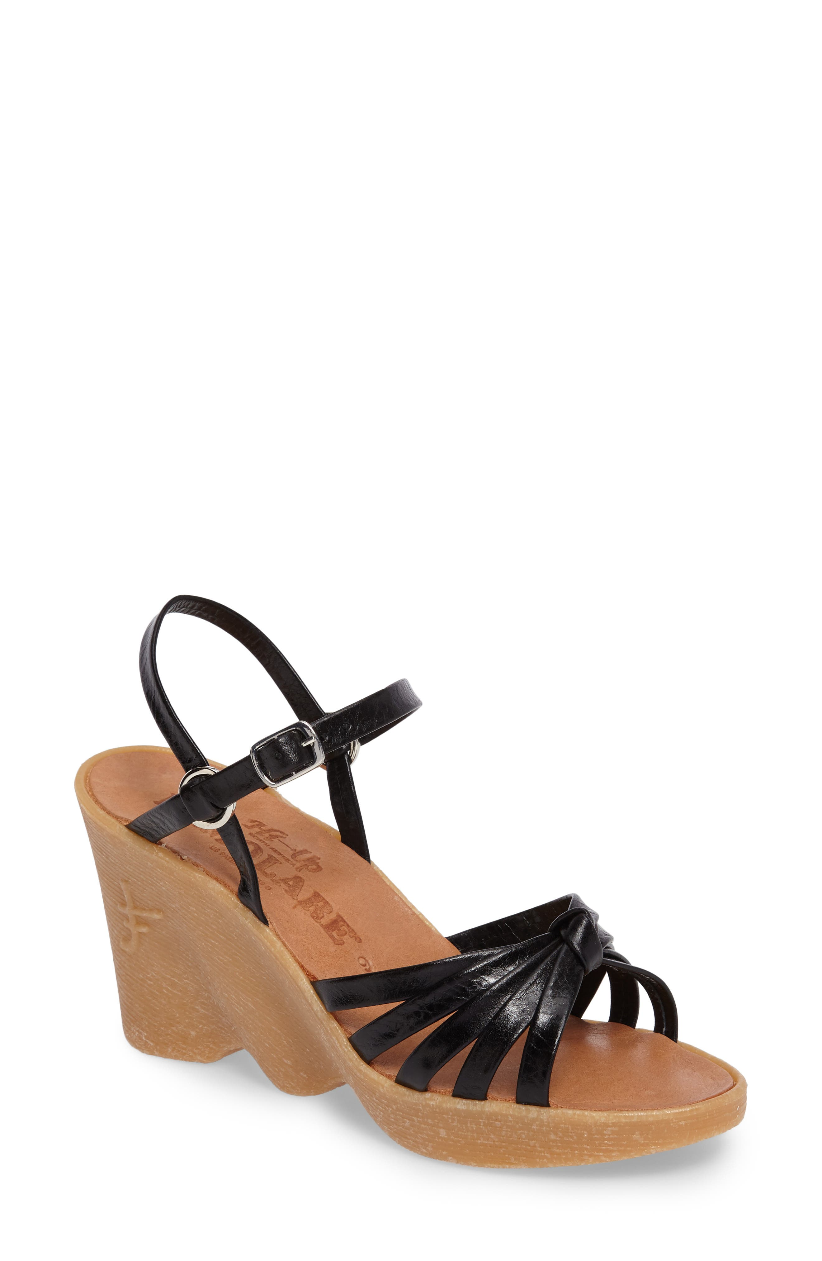 Knotty Monkey Wedge Sandal,                         Main,                         color, Coal Leather