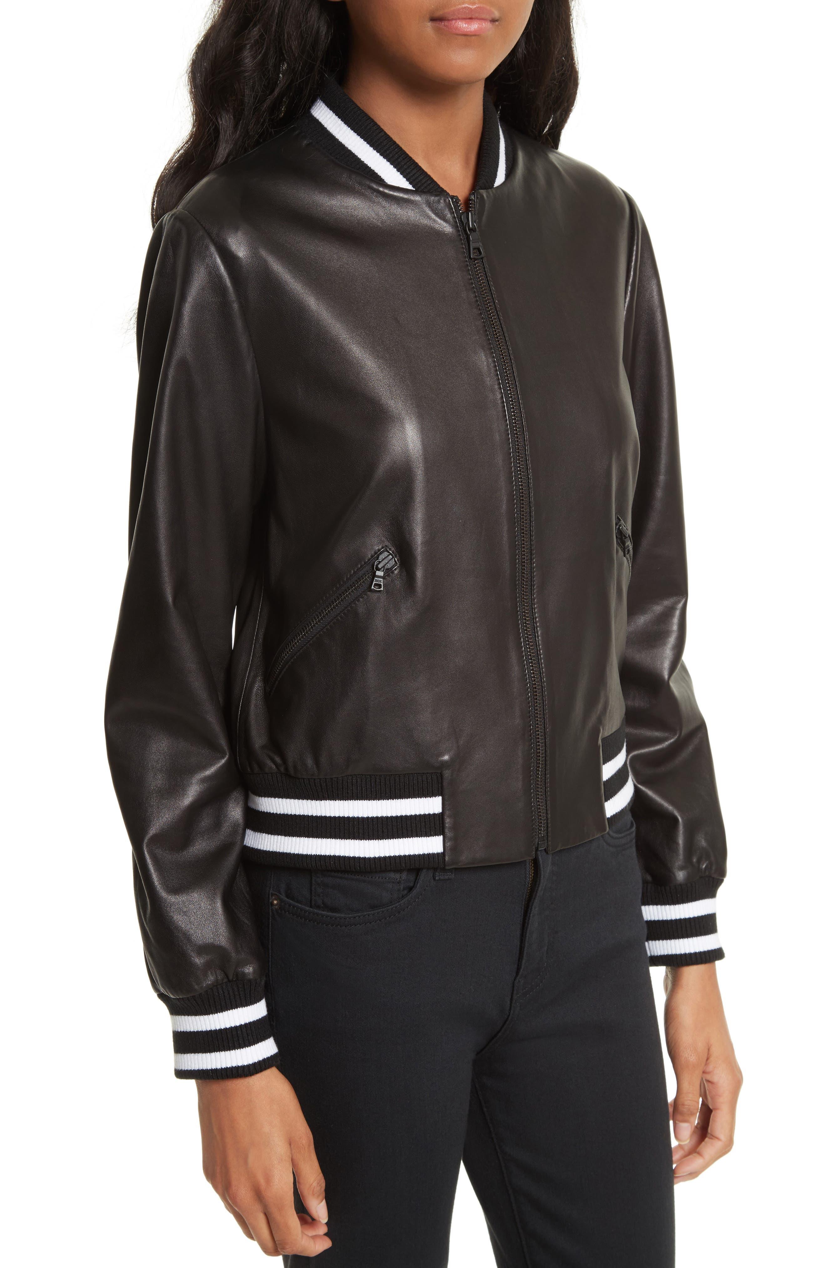 Alternate Image 4  - Alice + Olivia Demia Embellished Crop Leather Bomber Jacket