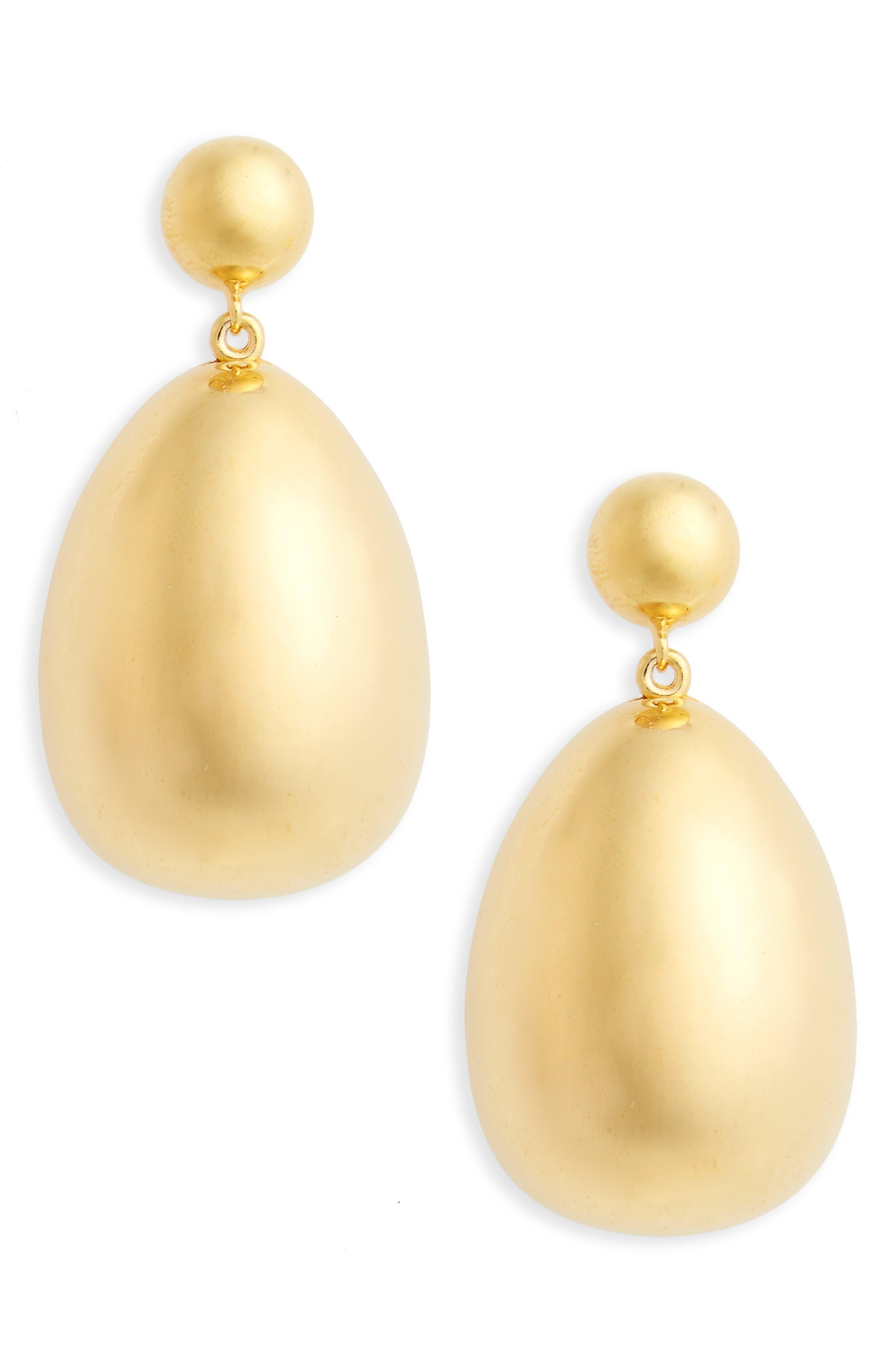 Vermeil Egg Drop Earrings,                             Main thumbnail 1, color,                             Vermeill