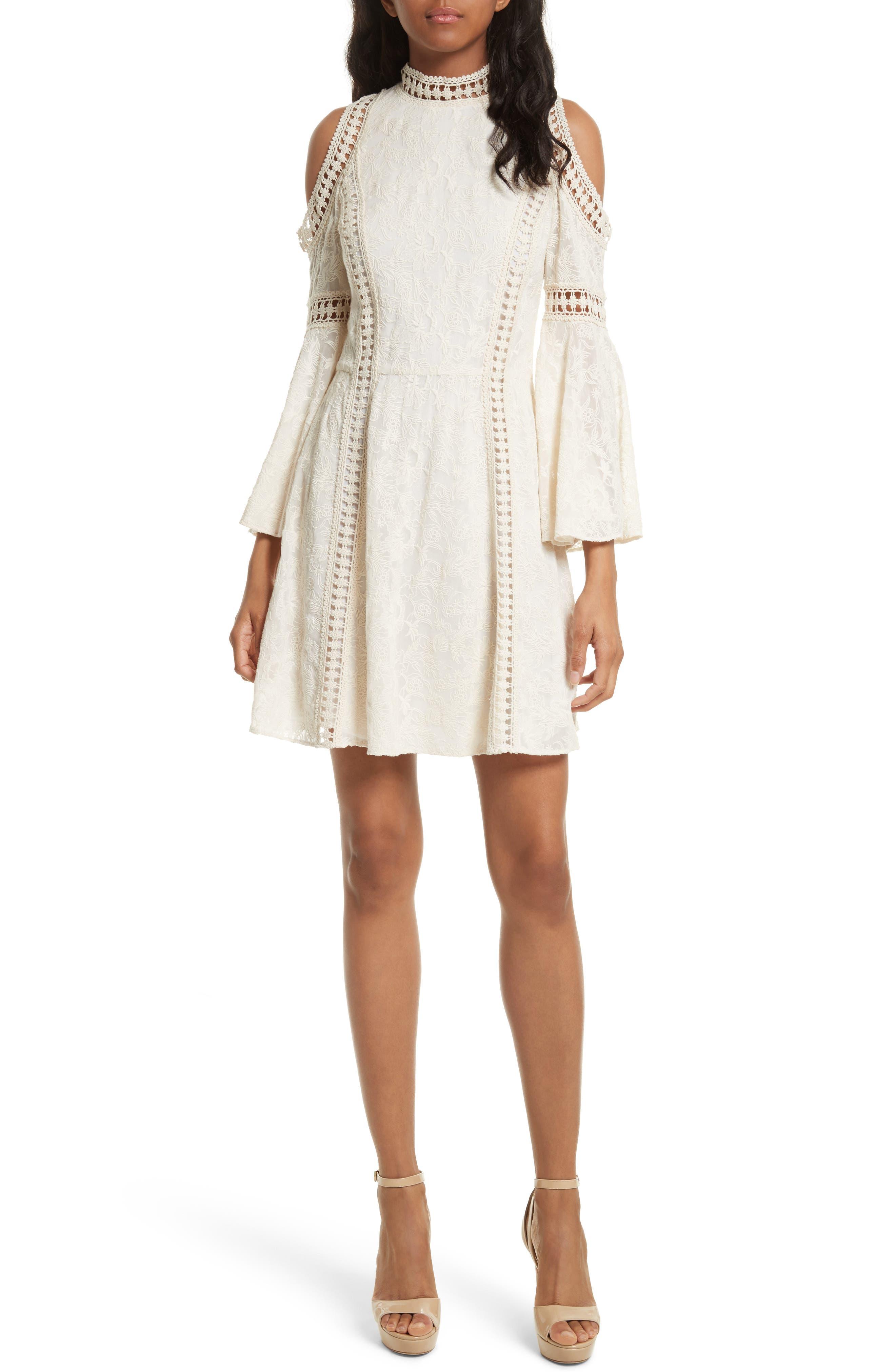 Enya Embroidered Cold Shoulder Dress,                             Main thumbnail 1, color,                             Cream