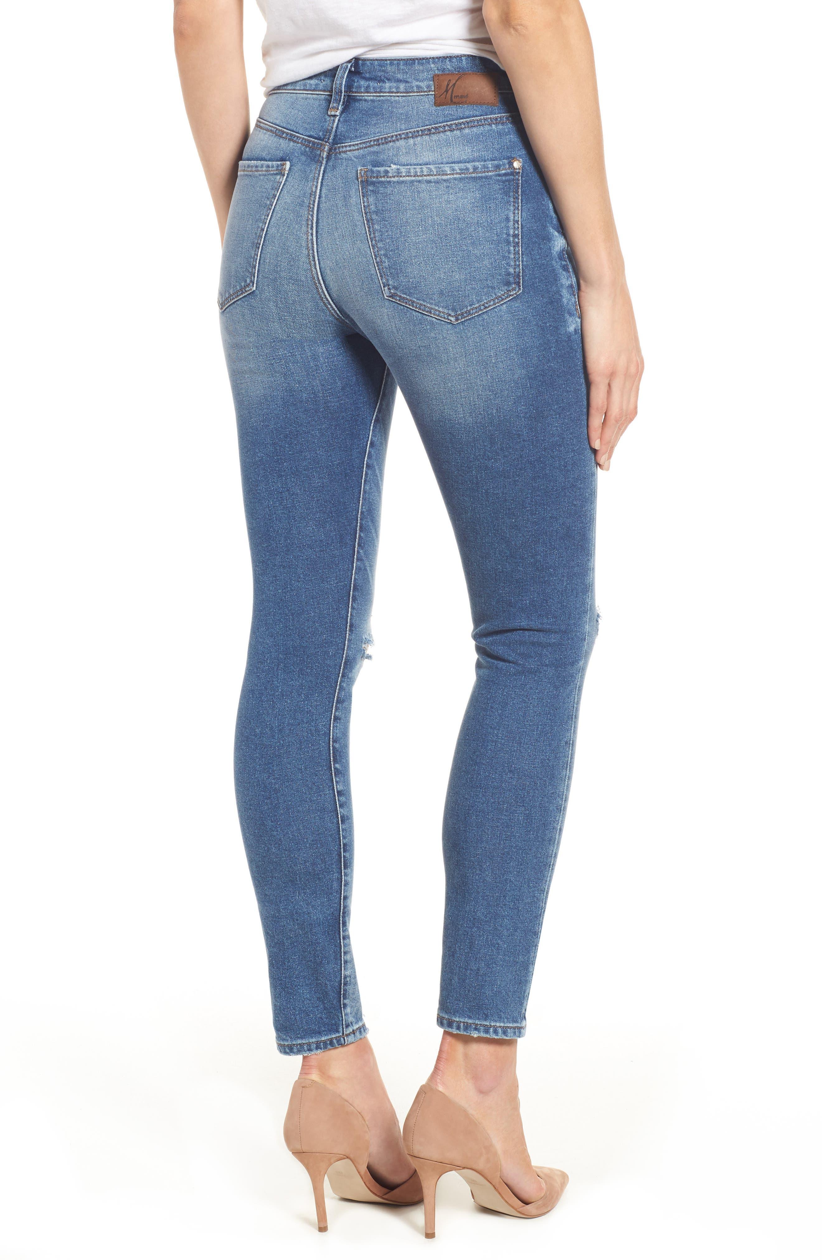 Alternate Image 2  - Mavi Jeans Lucy Ripped Skinny Jeans (Foggy)