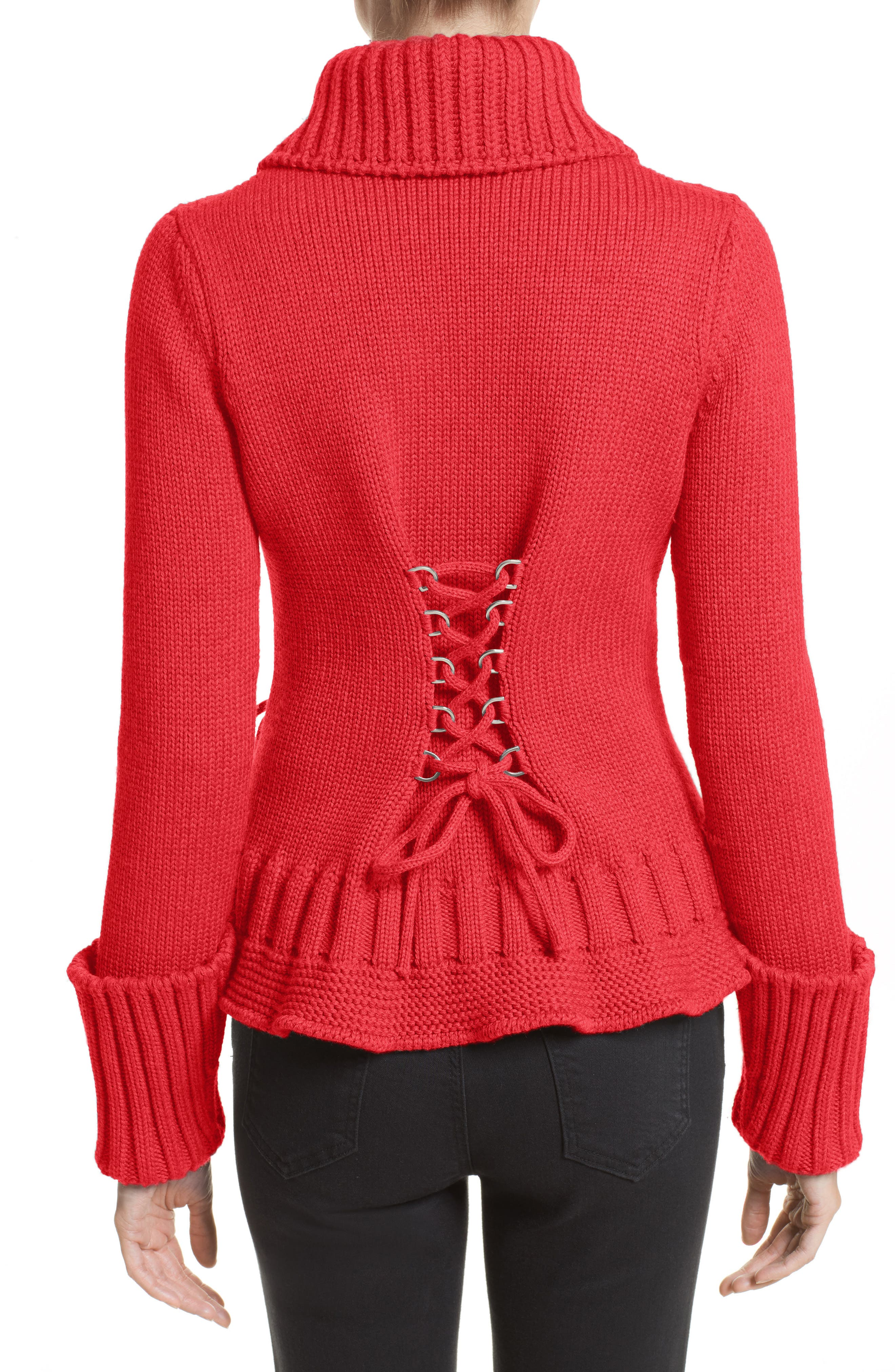 Lace-Up Wool Cardigan,                             Alternate thumbnail 2, color,                             Scarlet Red