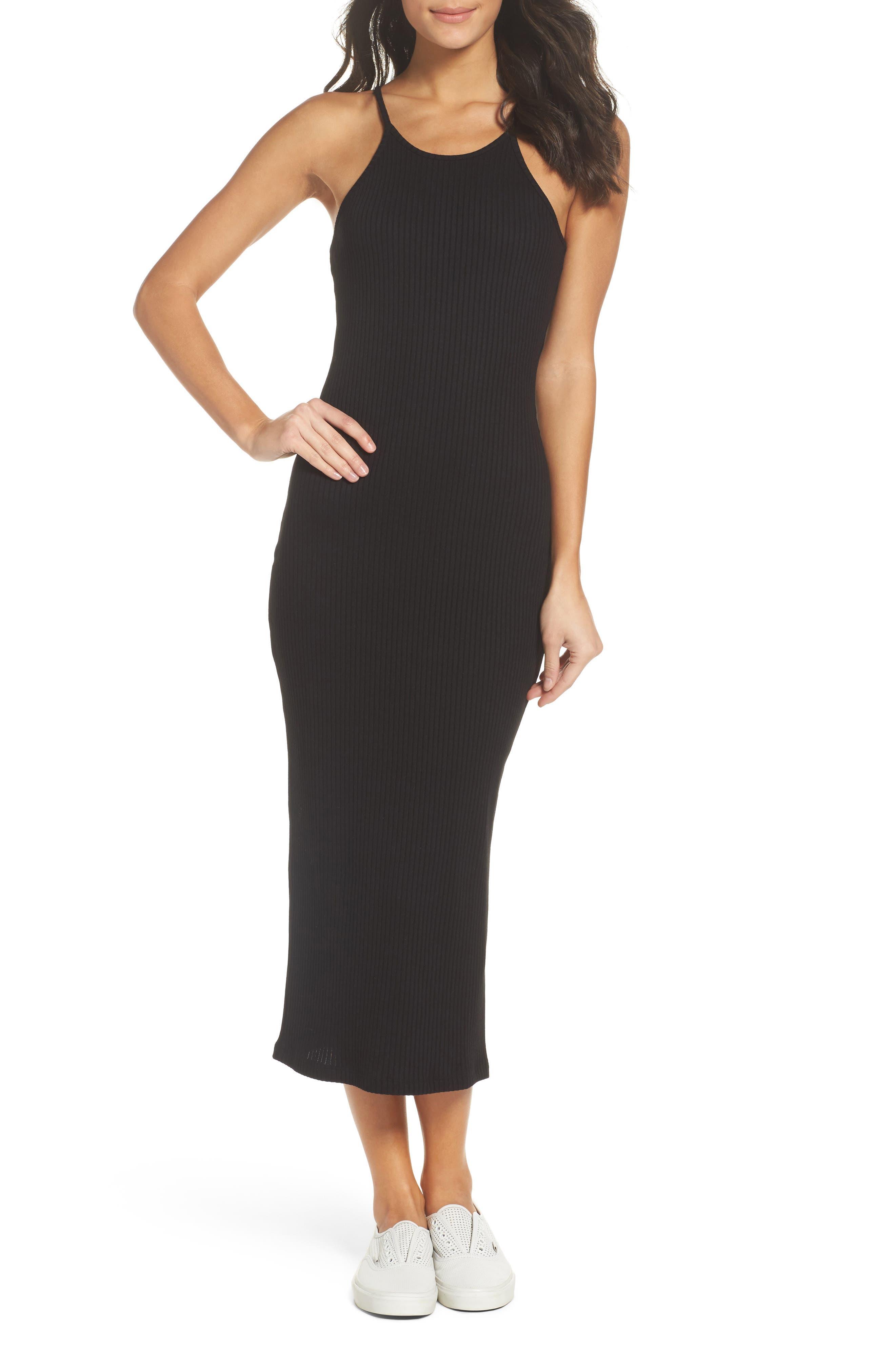 Tommy Body-Con Midi Dress,                         Main,                         color, Black