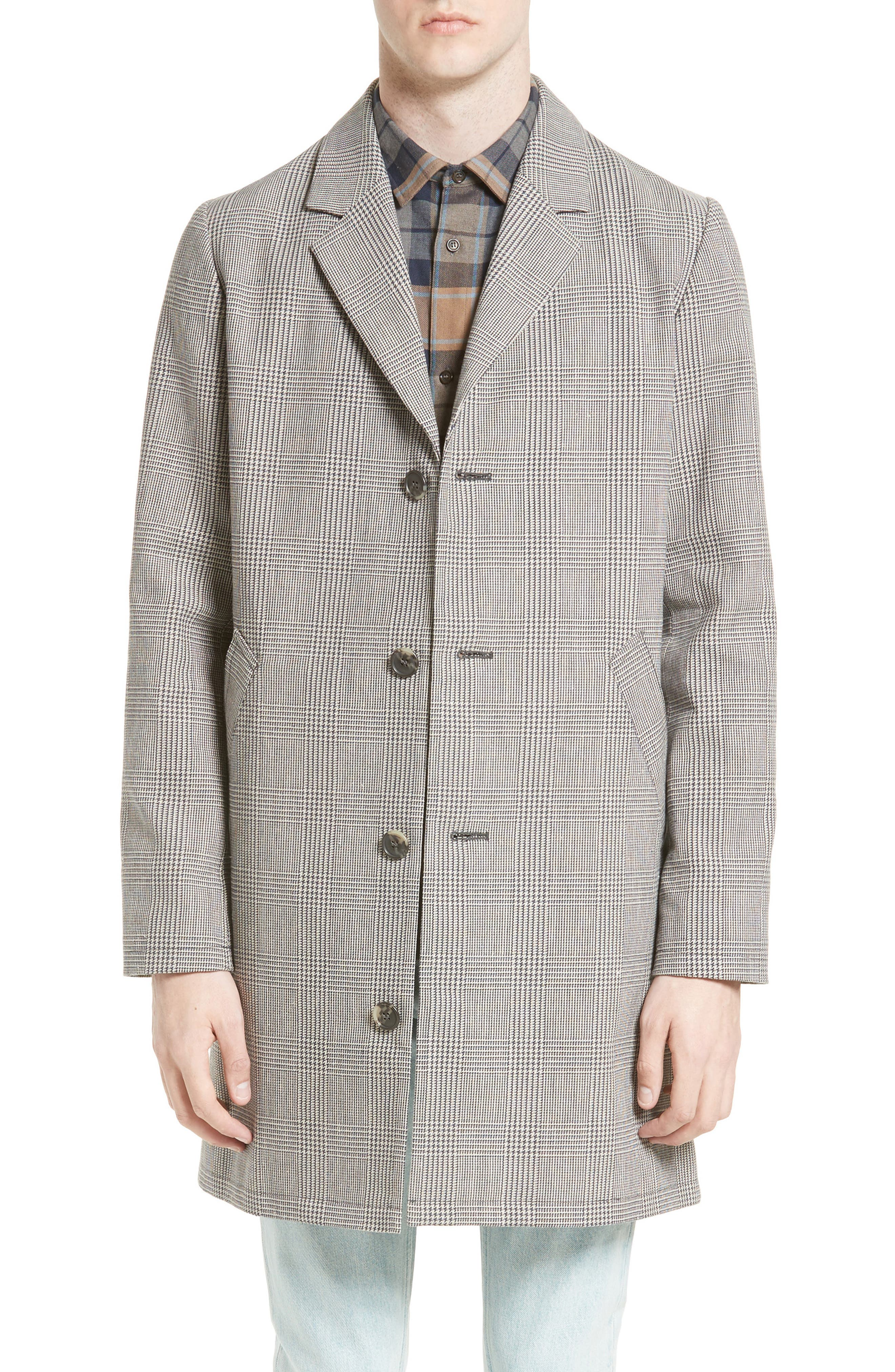 Manteau Tristan Cotton & Linen Topcoat,                         Main,                         color, Grey