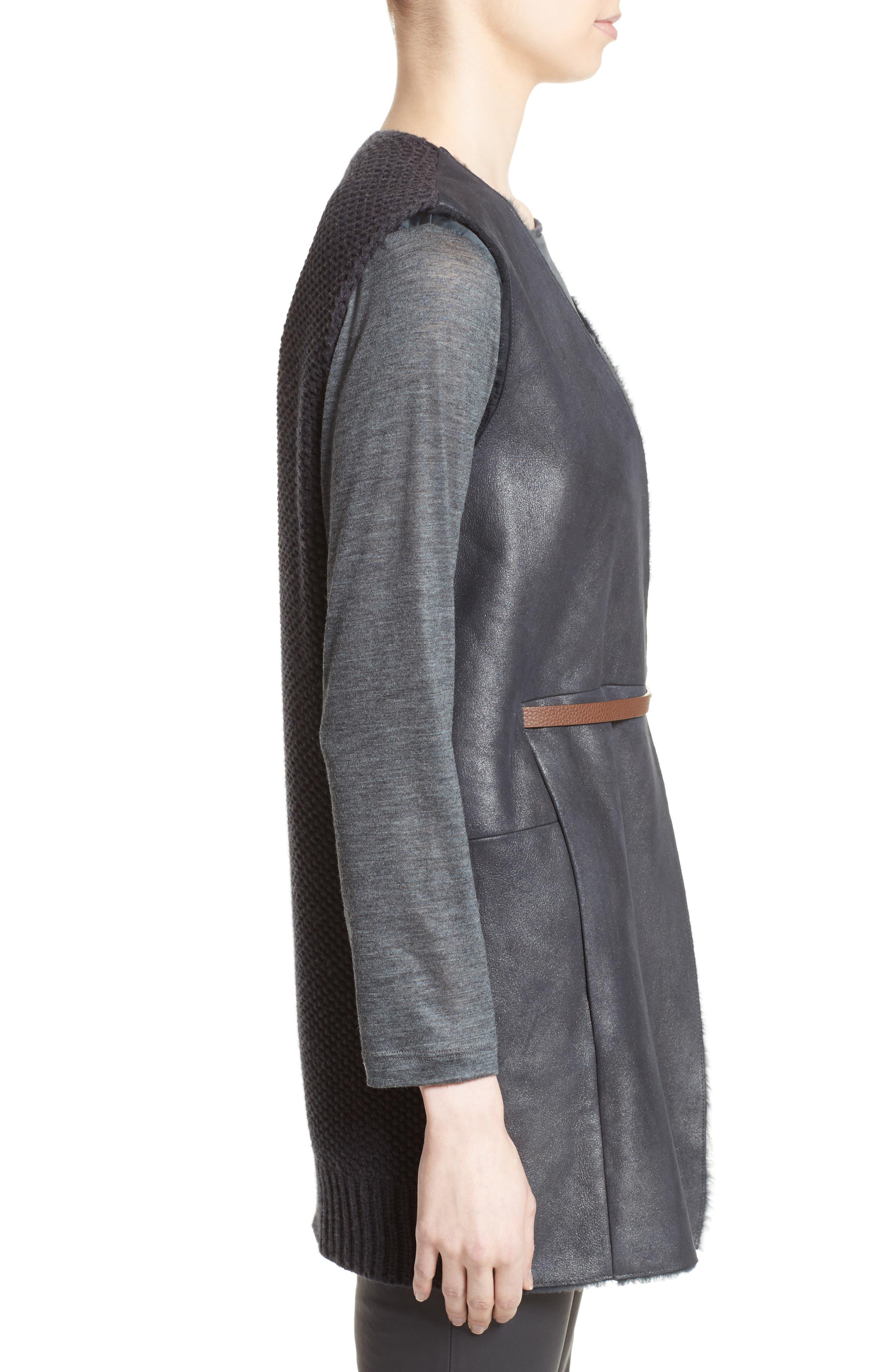 Alternate Image 5  - Fabiana Filippi Genuine Shearling Front Knit Vest