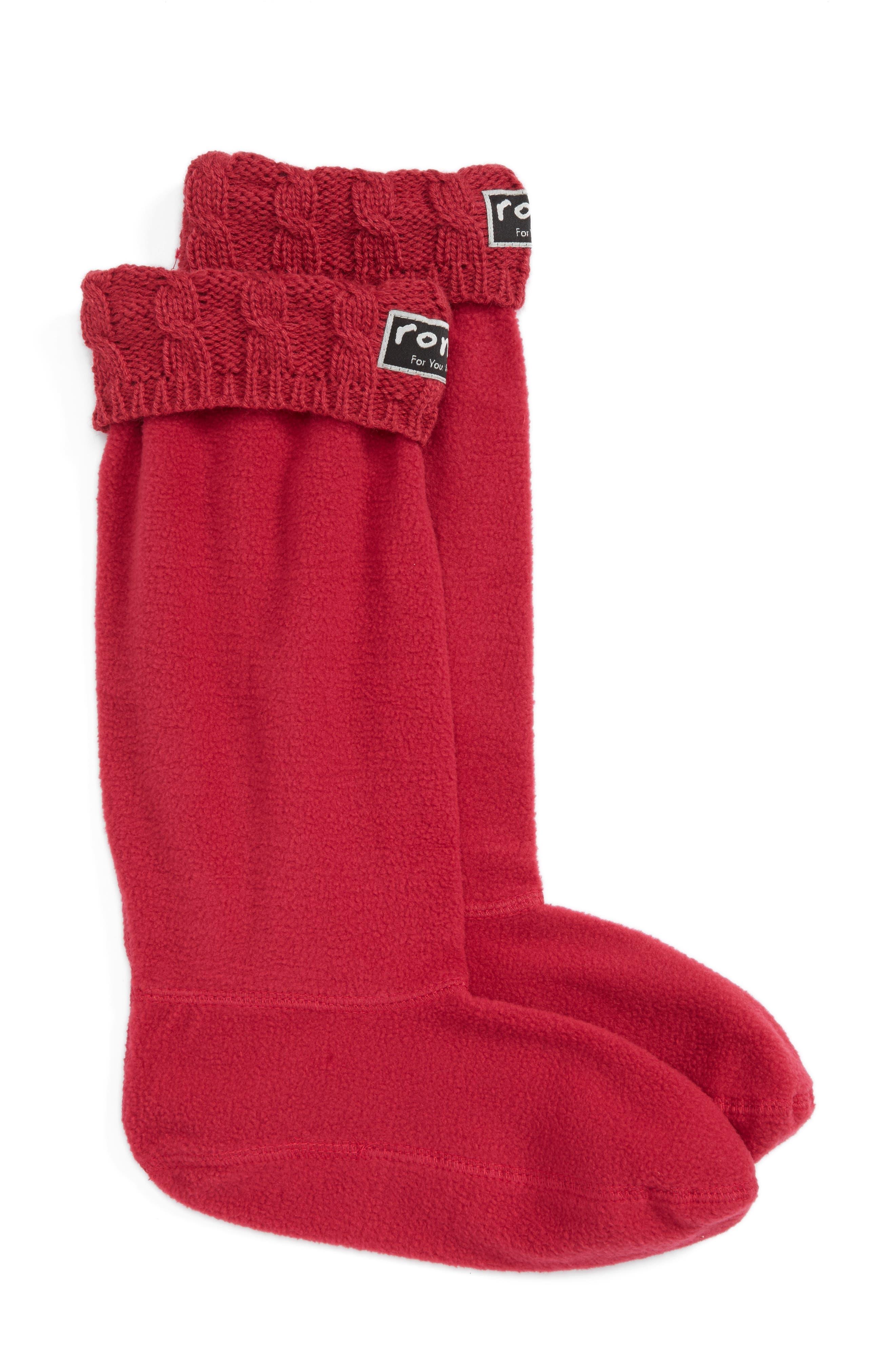 Main Image - roma Knit Collar Fleece Boot Socks (Women)