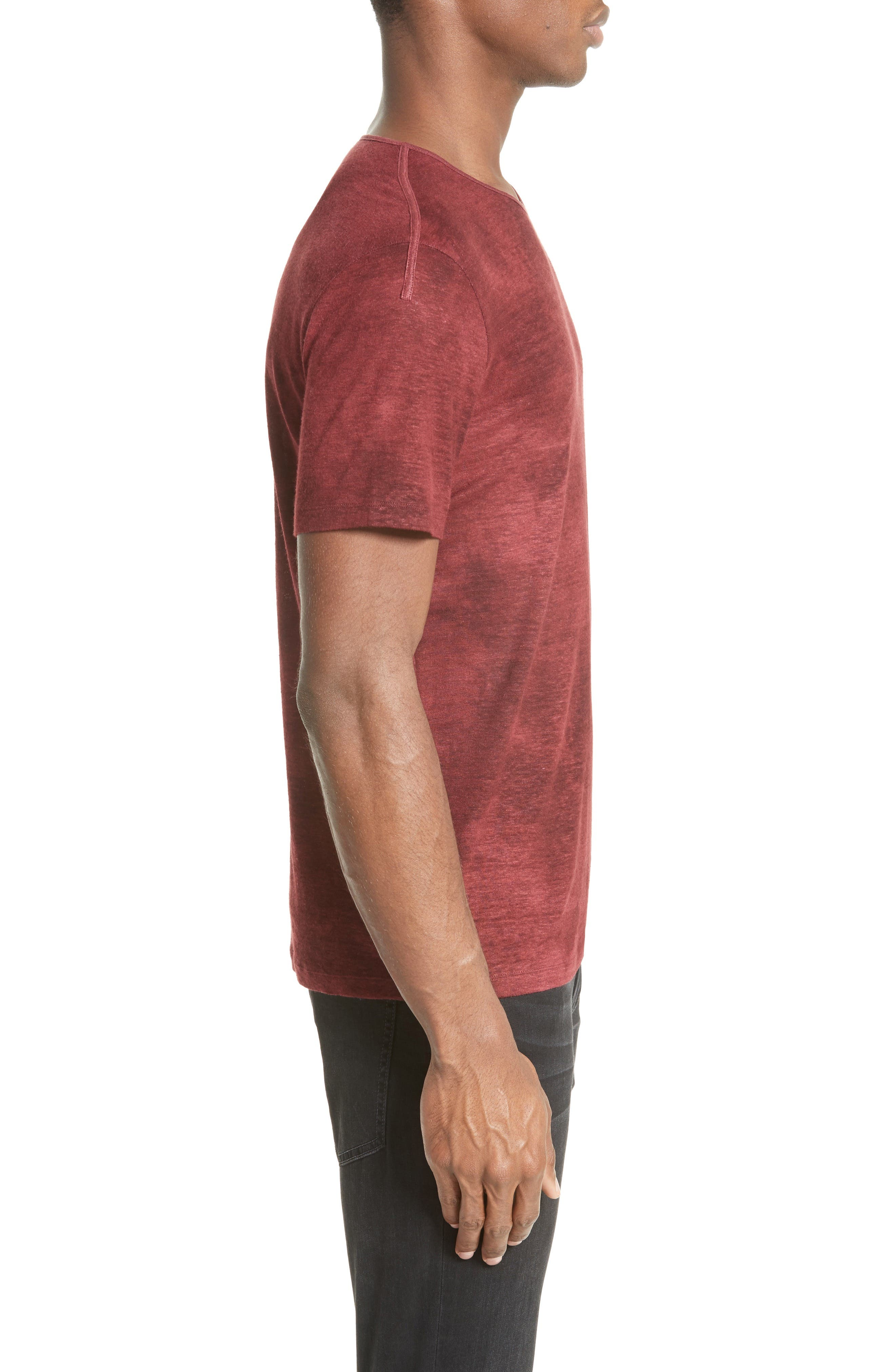 Linen Blend T-Shirt,                             Alternate thumbnail 3, color,                             Red Clay